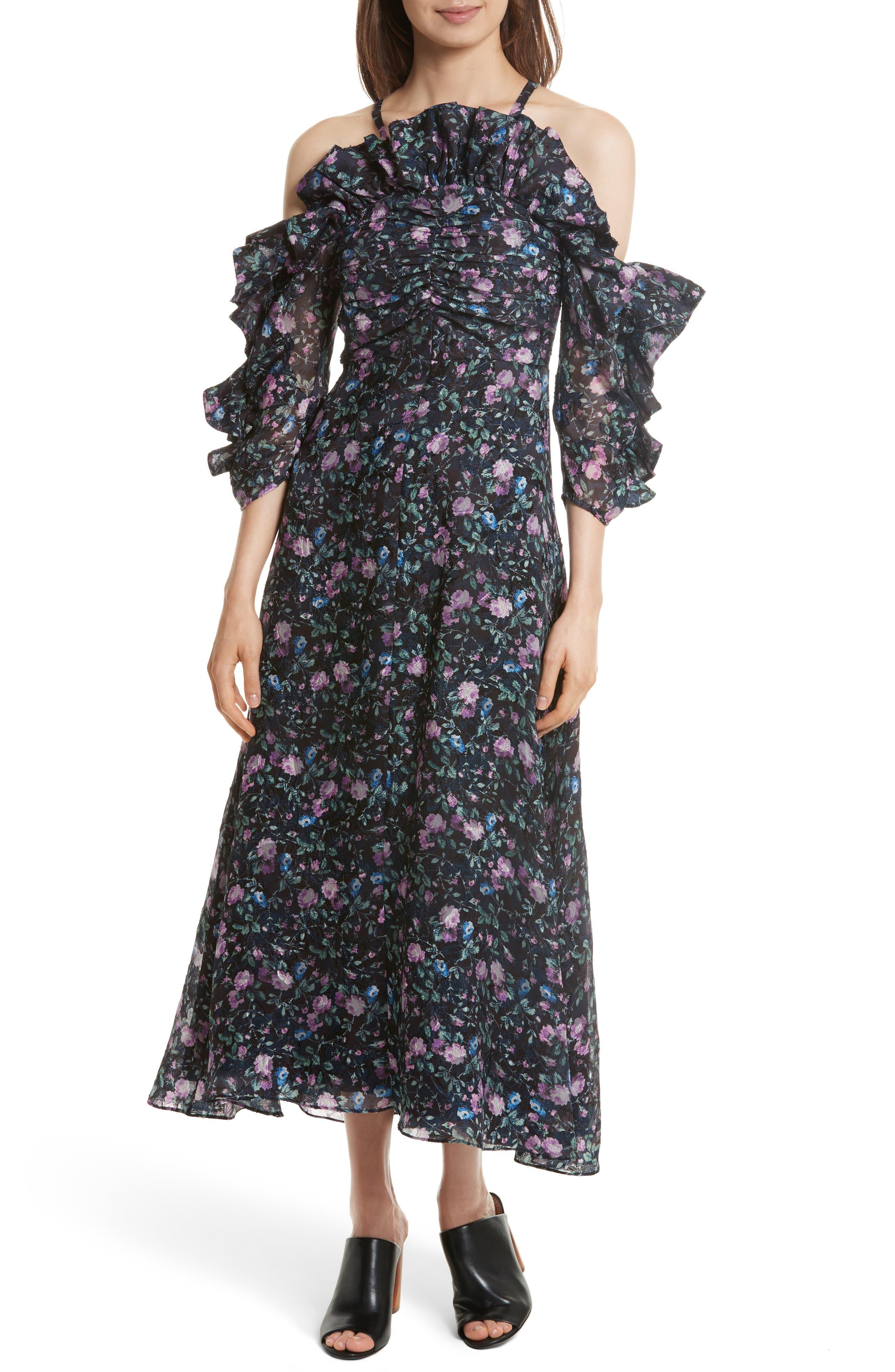 Ruby Organza Midi Dress,                             Main thumbnail 1, color,                             497