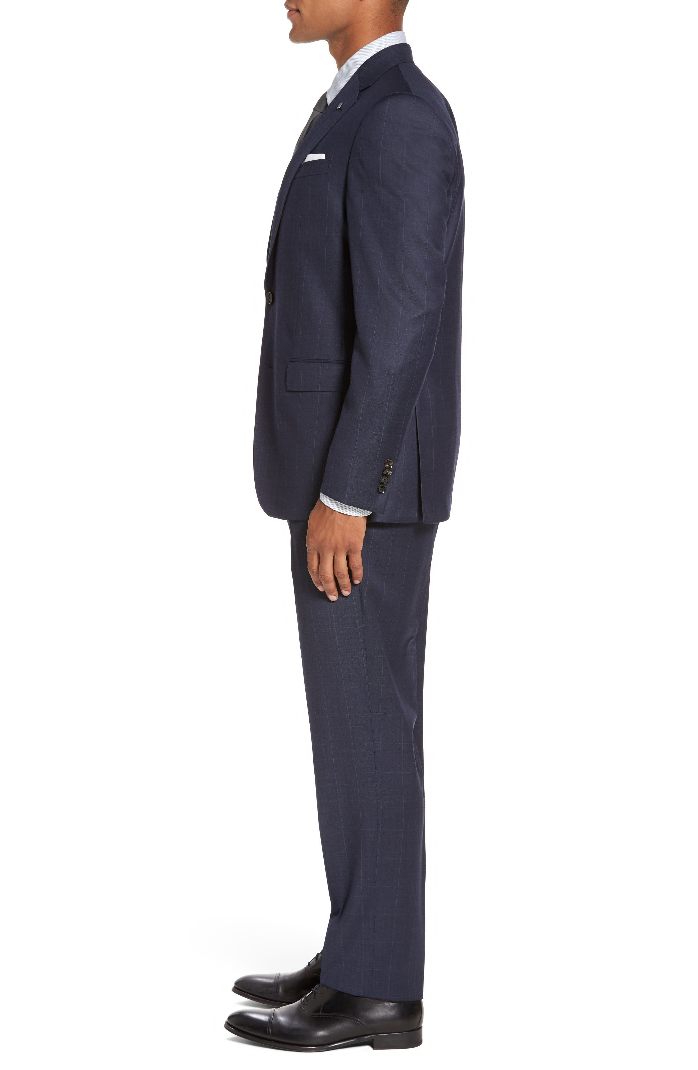 Jay Trim Fit Windowpane Wool Suit,                             Alternate thumbnail 3, color,