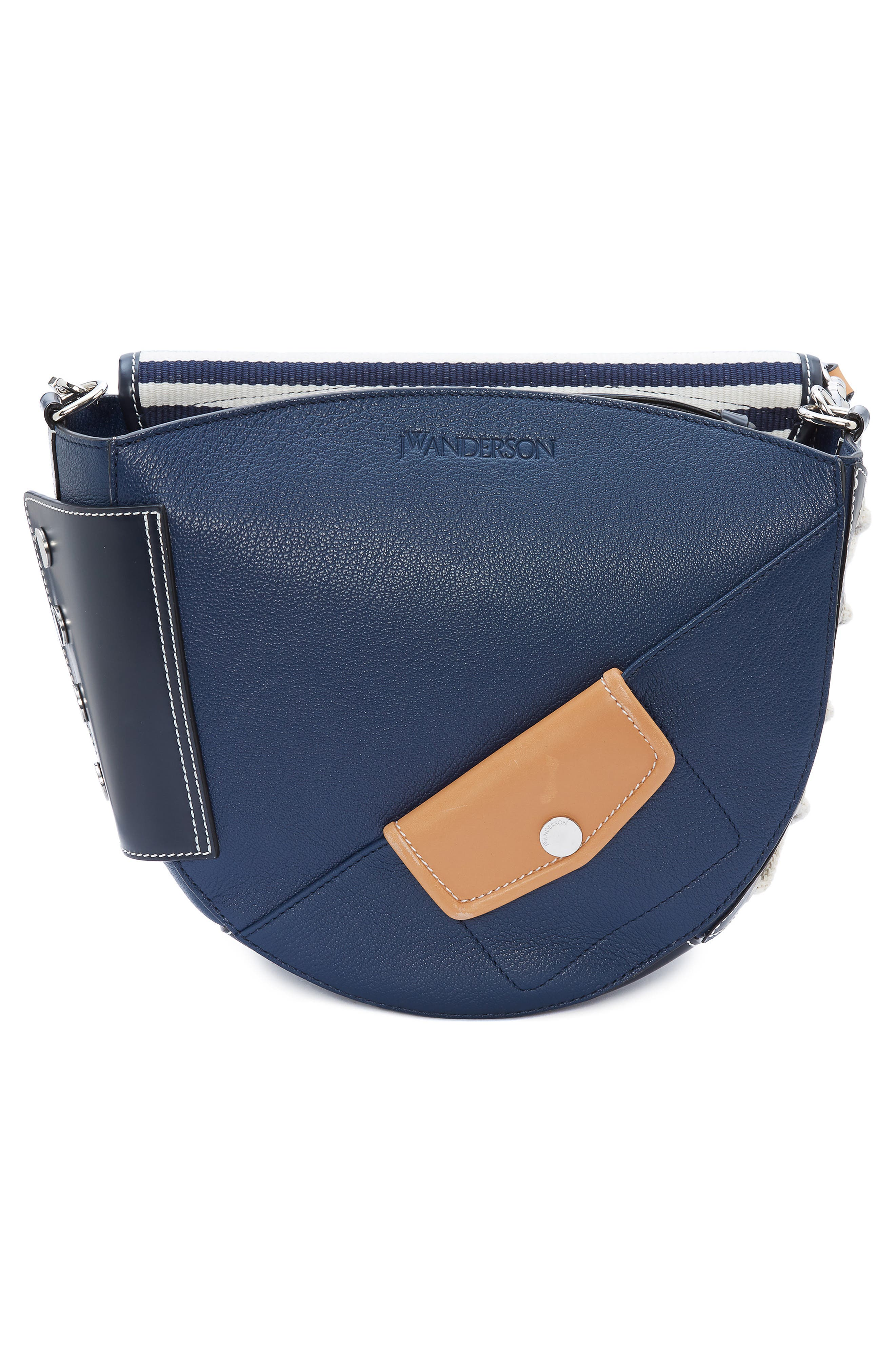 JW ANDERSON,                             Small Bike Leather & Canvas Crossbody Bag,                             Alternate thumbnail 2, color,                             NAVY BRETON