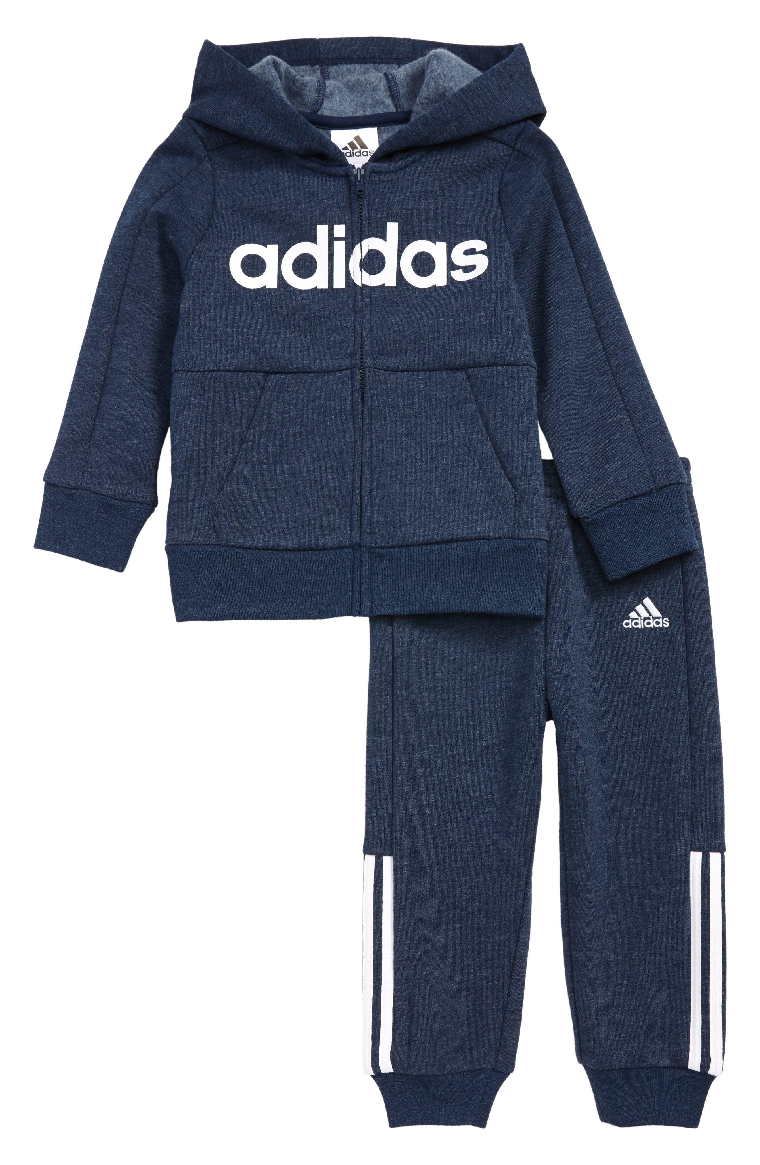 Infant Boys Adidas Zip Front Hoodie  Sweatpants Set