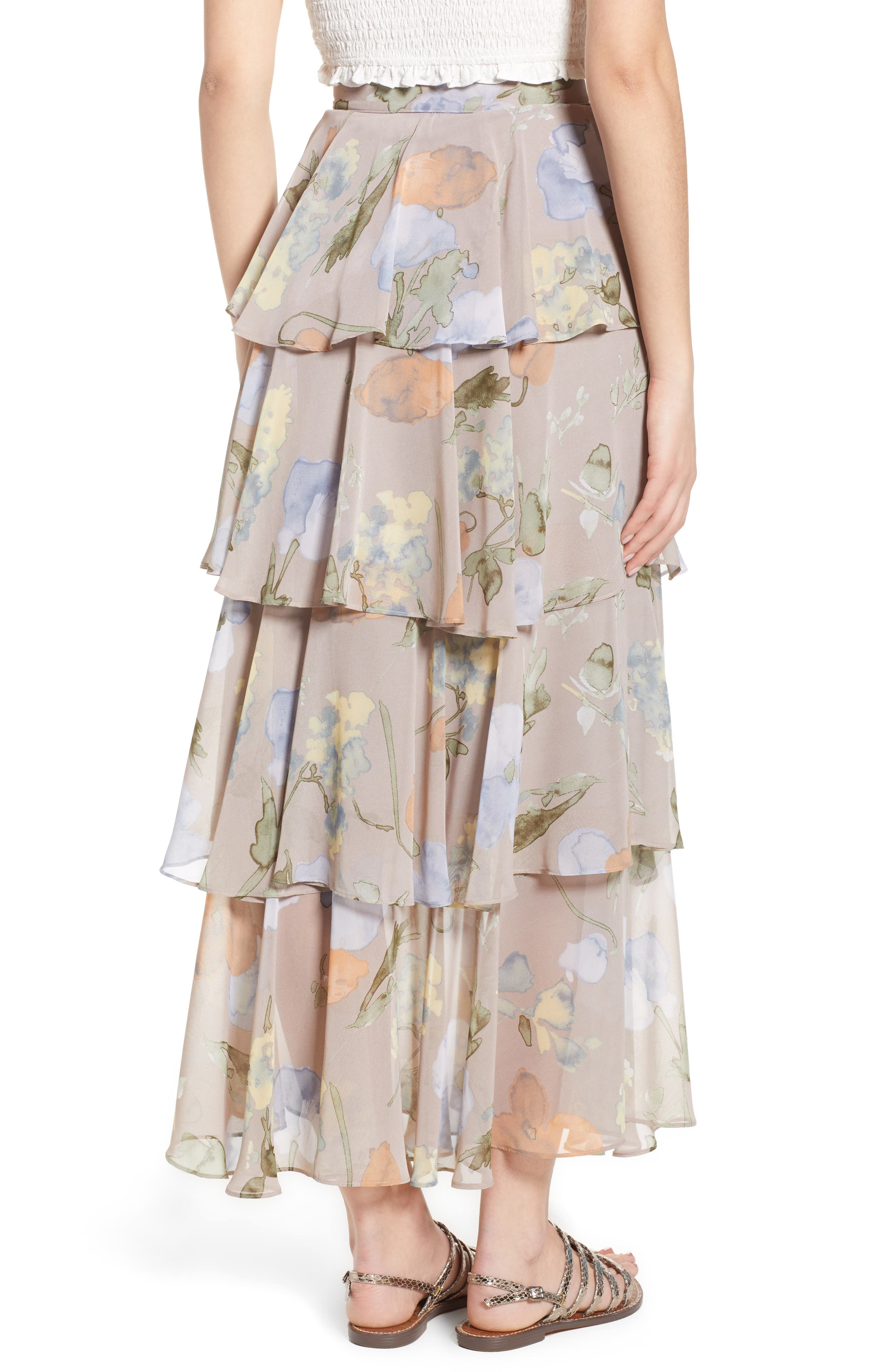 Clarita Floral Tiered Maxi Skirt,                             Alternate thumbnail 2, color,