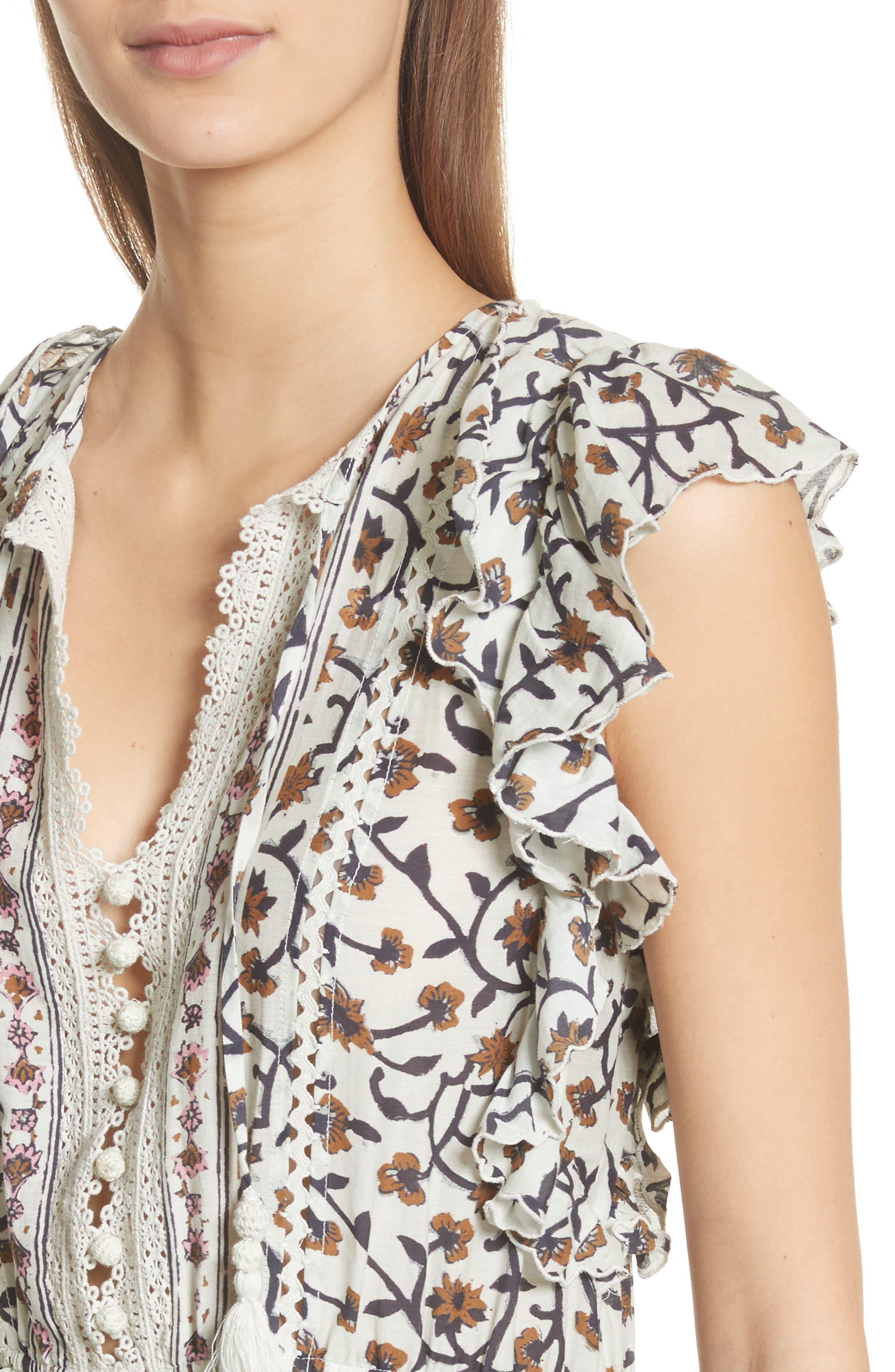 Rosalie Crochet Tier Dress,                             Alternate thumbnail 4, color,