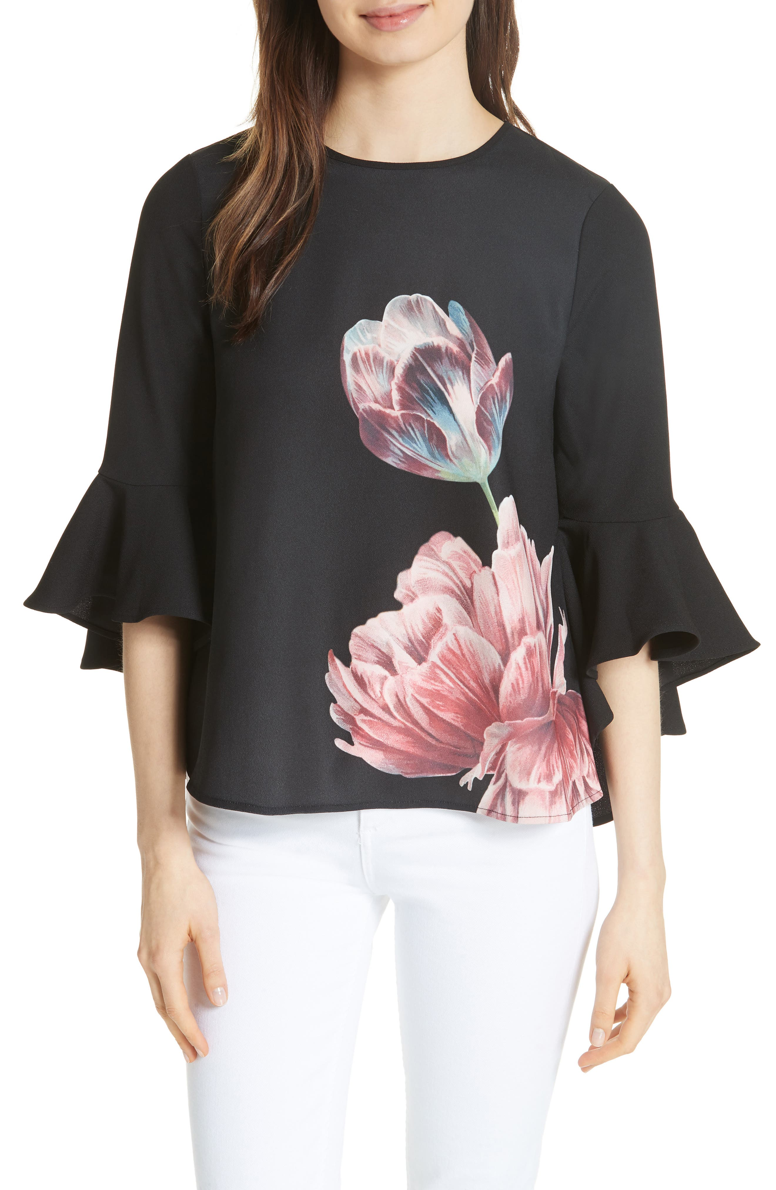 TED BAKER LONDON Suuzan Tranquility Waterfall Top, Main, color, 001