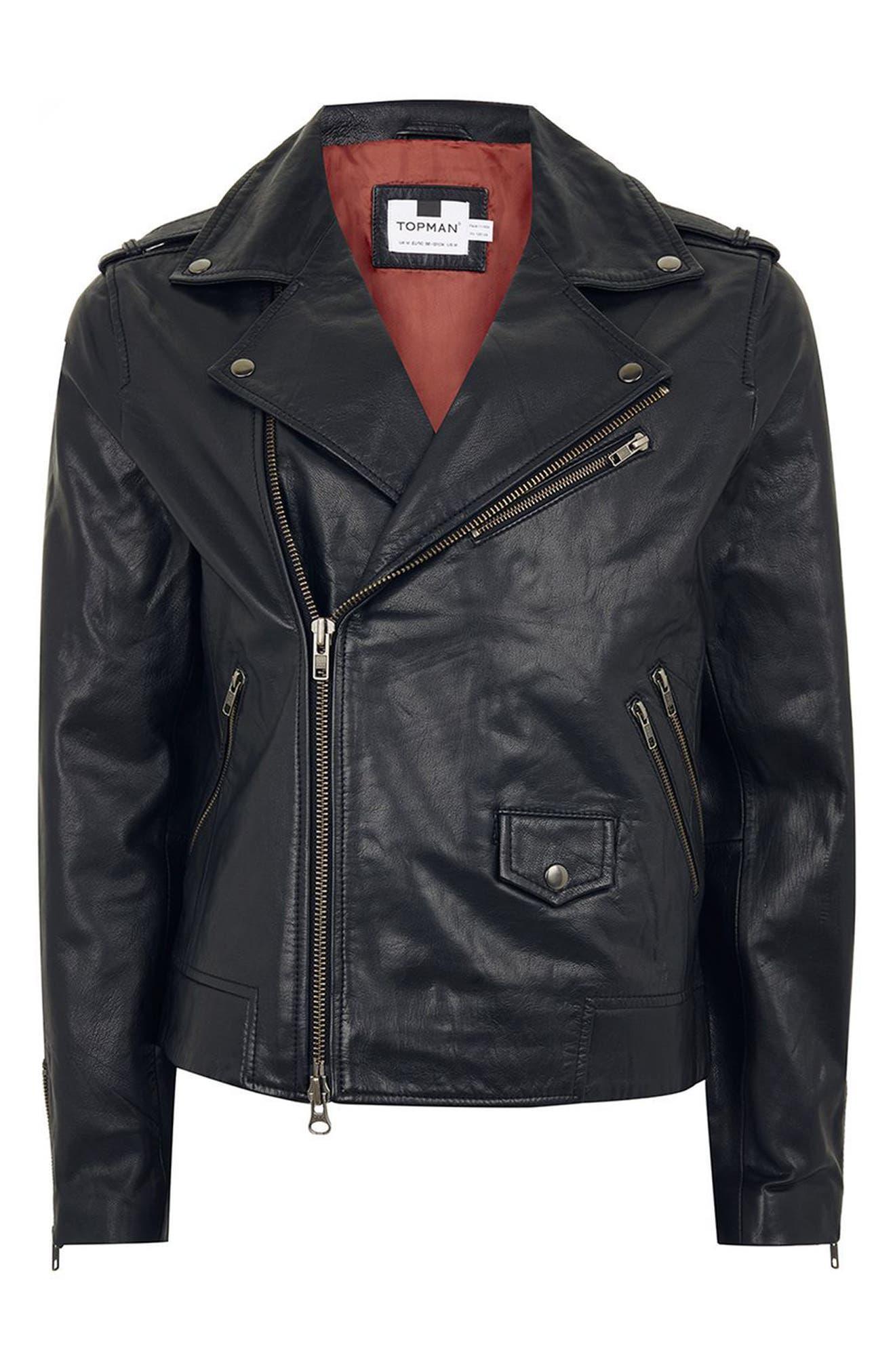 Leather Biker Jacket,                             Alternate thumbnail 4, color,                             001