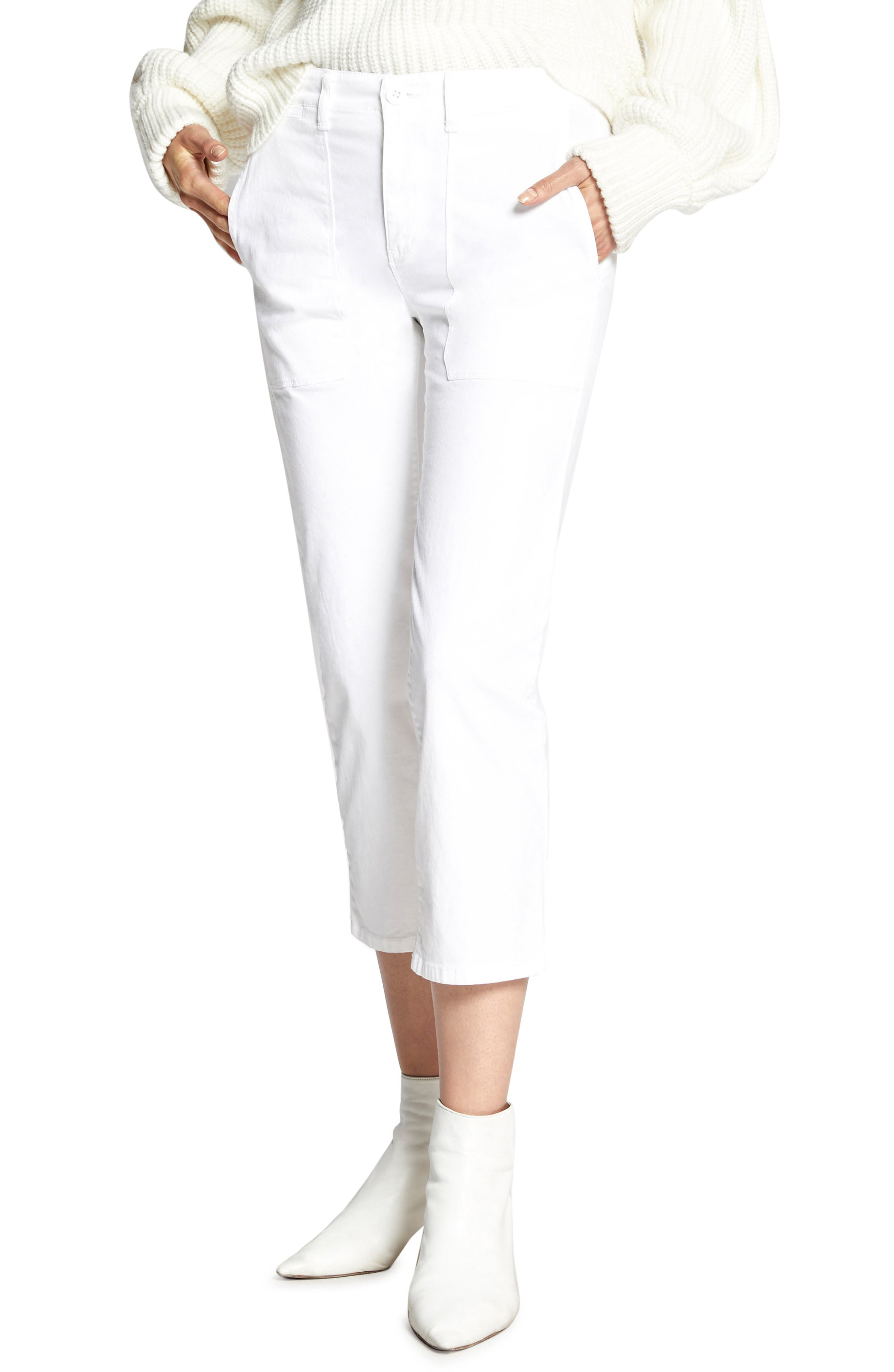 Peace Crop Chino Pants in Brite White