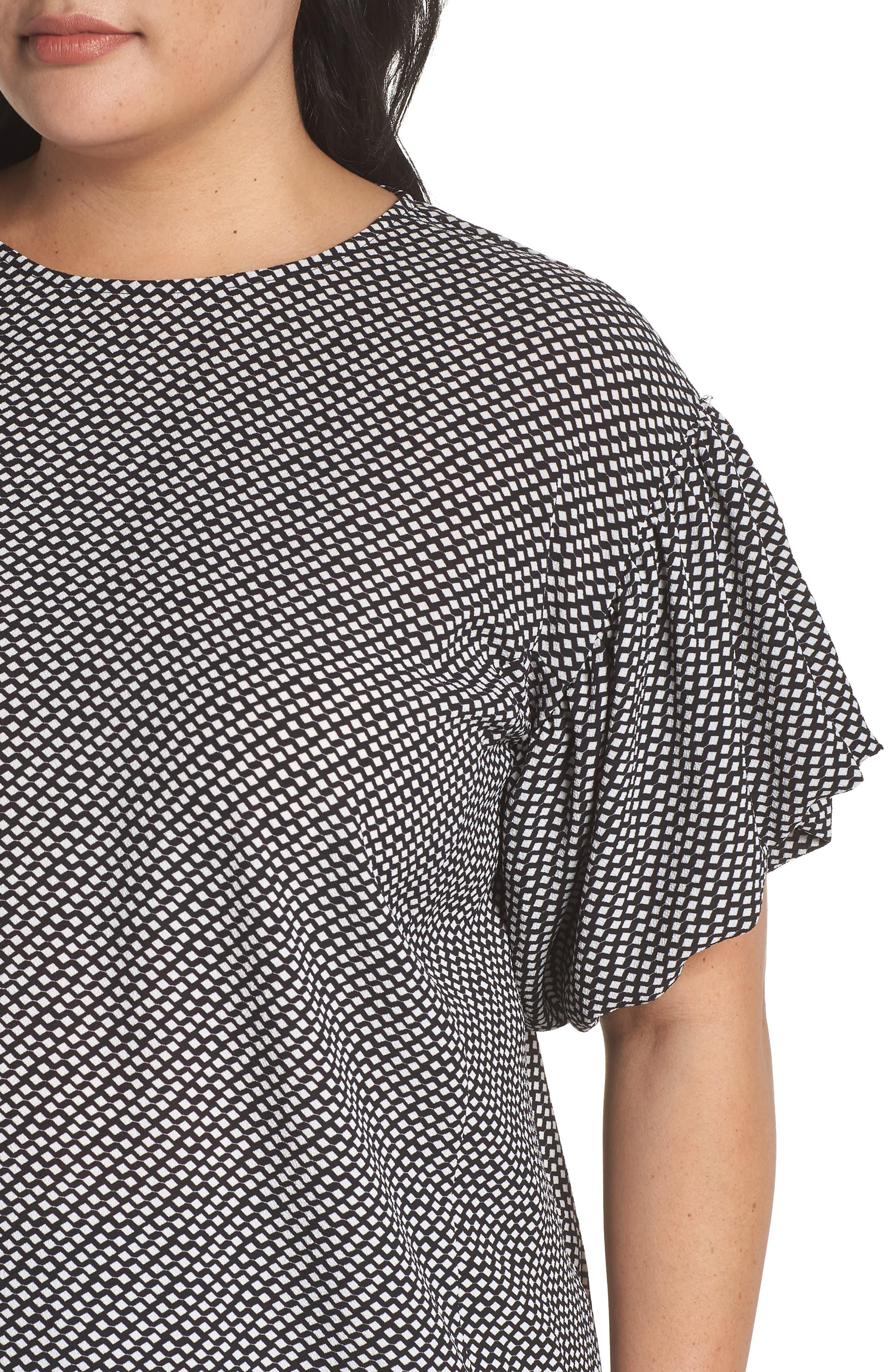 Cabana Bubble Sleeve Blouse,                             Alternate thumbnail 4, color,                             010