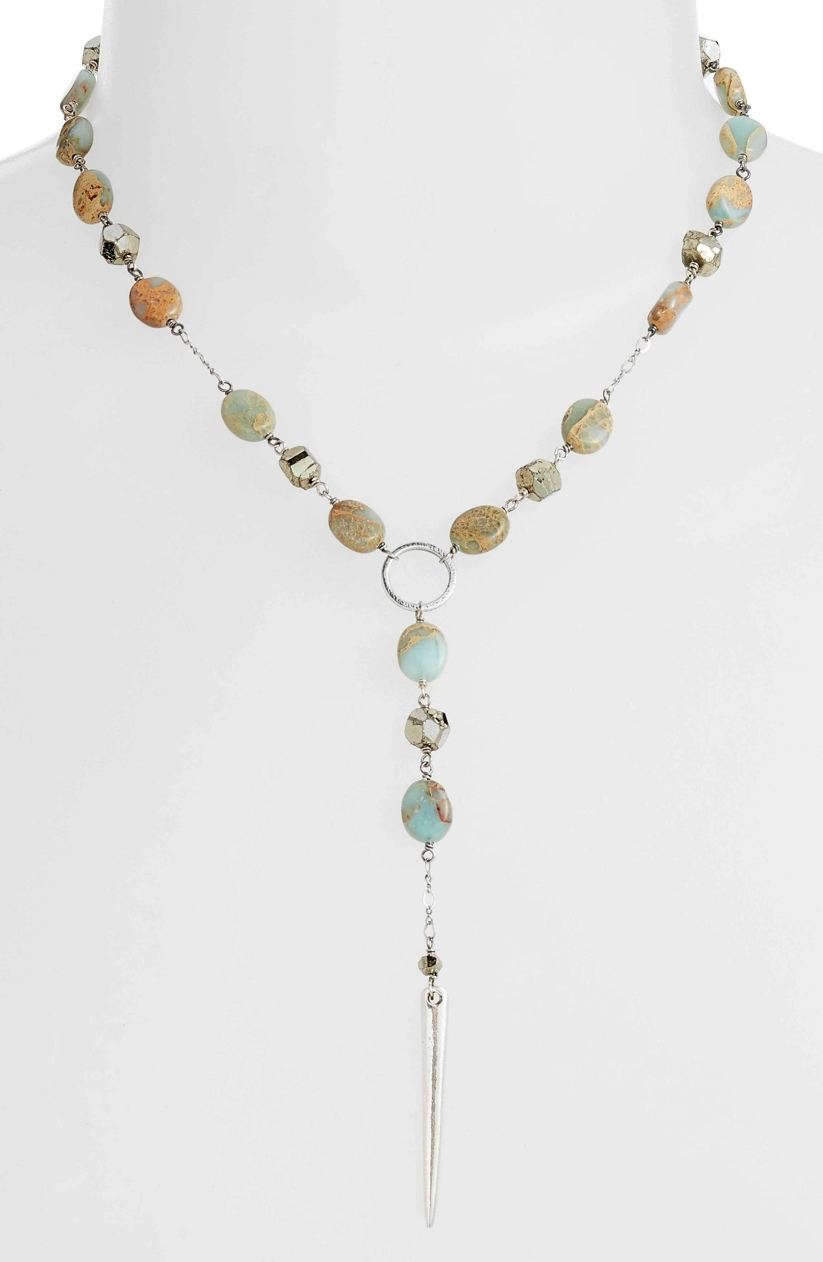 Mixed Stone Dagger Pendant Necklace,                             Alternate thumbnail 2, color,                             AQUA TERRA