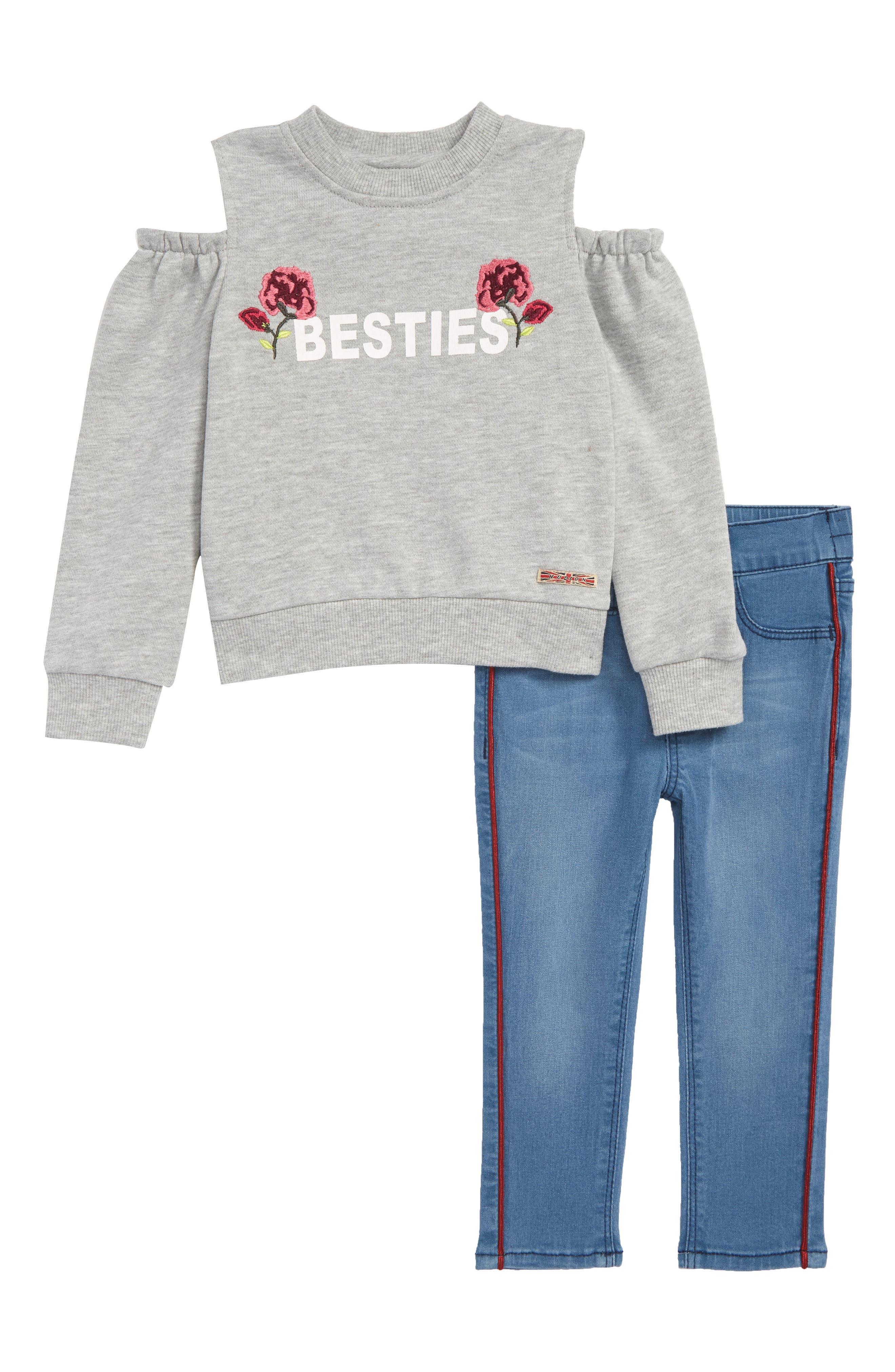 Besties Cold Shoulder Sweatshirt & Jeans Set,                             Main thumbnail 1, color,                             LIGHT BLUE
