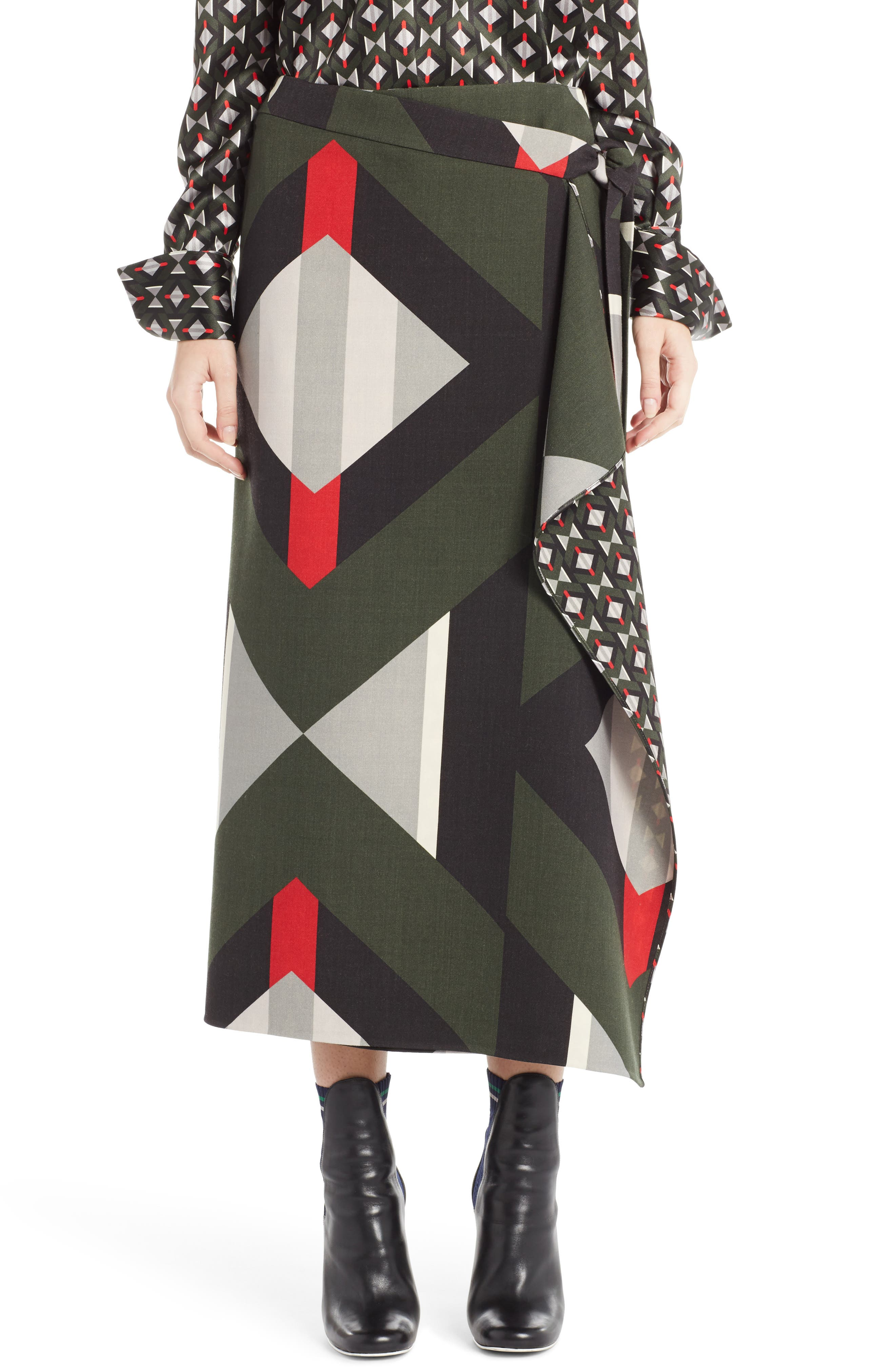 Lozenge Print Wrap Skirt,                             Main thumbnail 1, color,