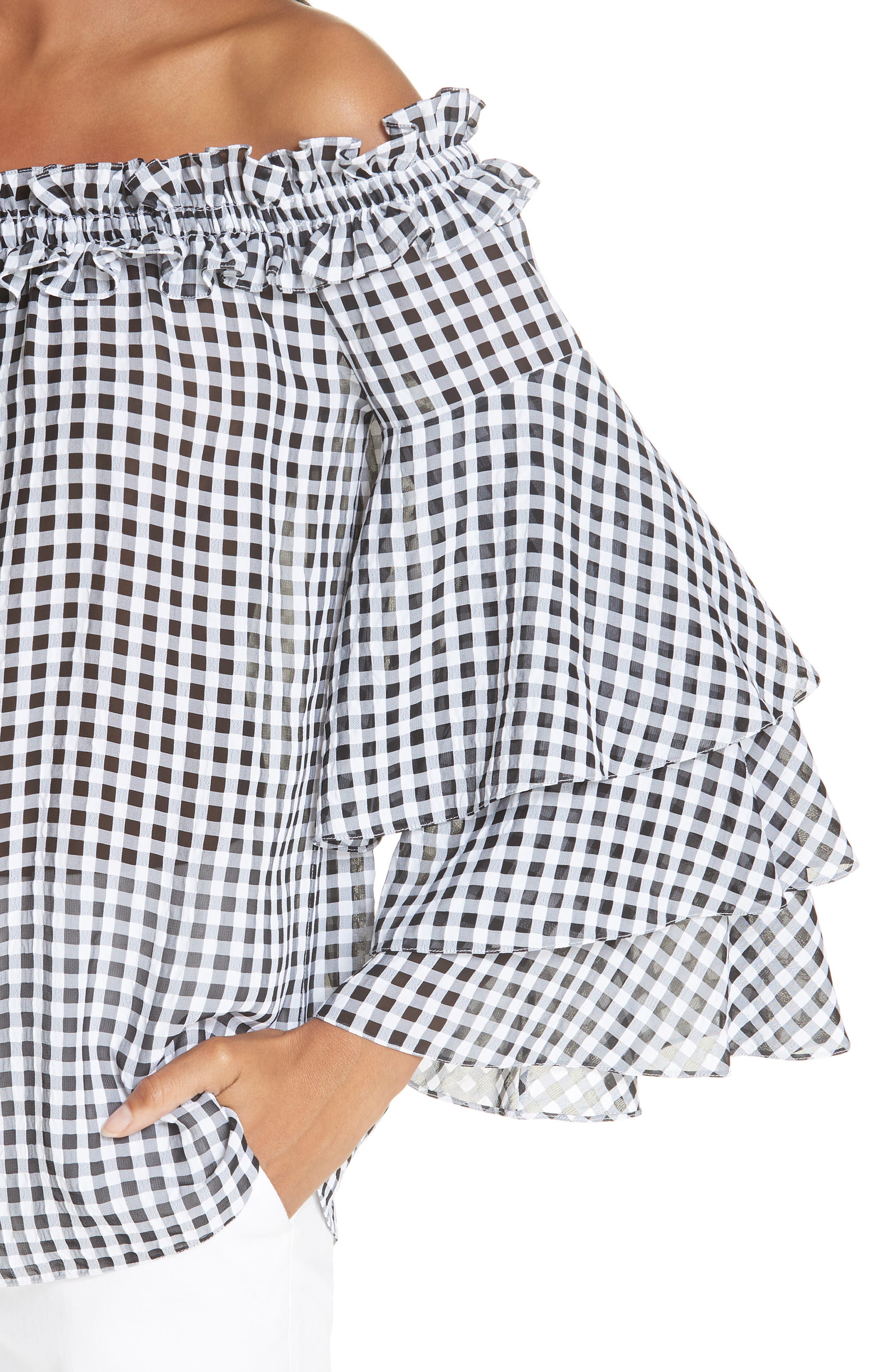 Gingham Tiered Sleeve Off the Shoulder Top,                             Alternate thumbnail 4, color,                             BLACK/ OPTIC WHITE