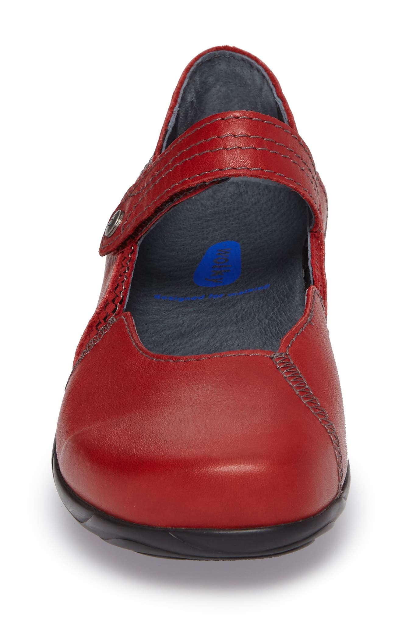 Gila Mary-Jane Flat,                             Alternate thumbnail 4, color,                             RED LEATHER