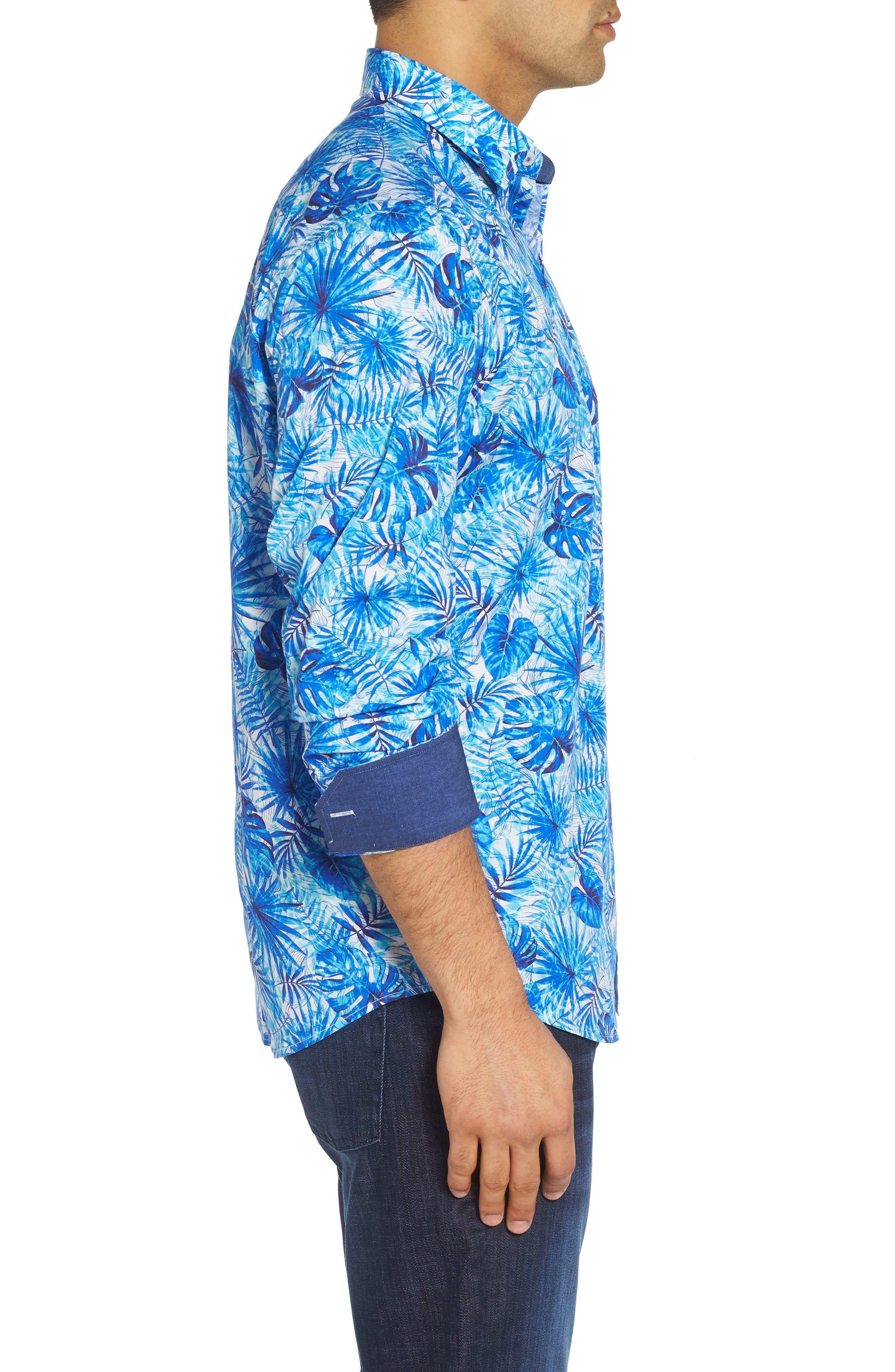 Tropical Leaves Classic Fit Print Sport Shirt,                             Alternate thumbnail 3, color,                             419