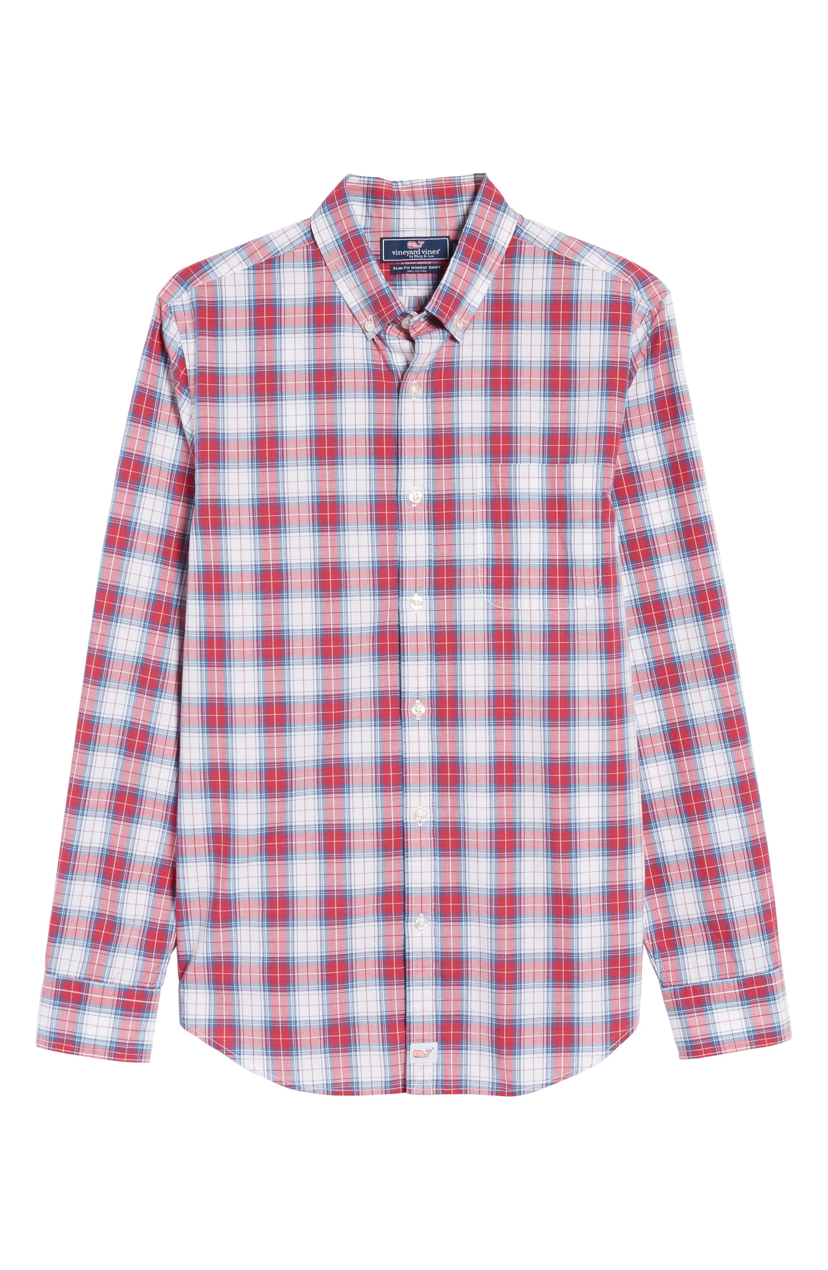 Murray Bucklin Point Slim Fit Plaid Sport Shirt,                             Alternate thumbnail 6, color,