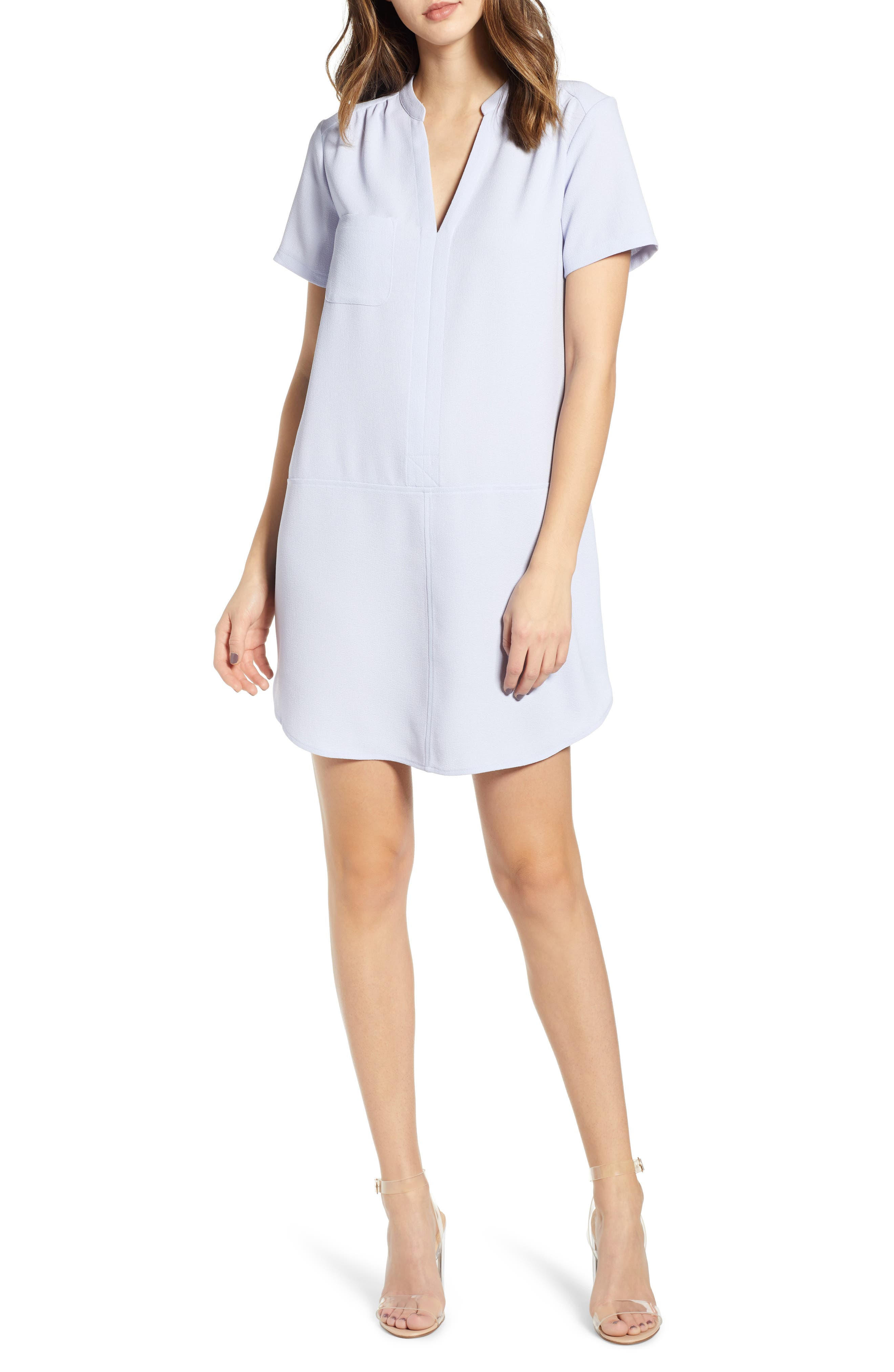 ALL IN FAVOR Hailey Crepe Dress, Main, color, HEATHER BLUE