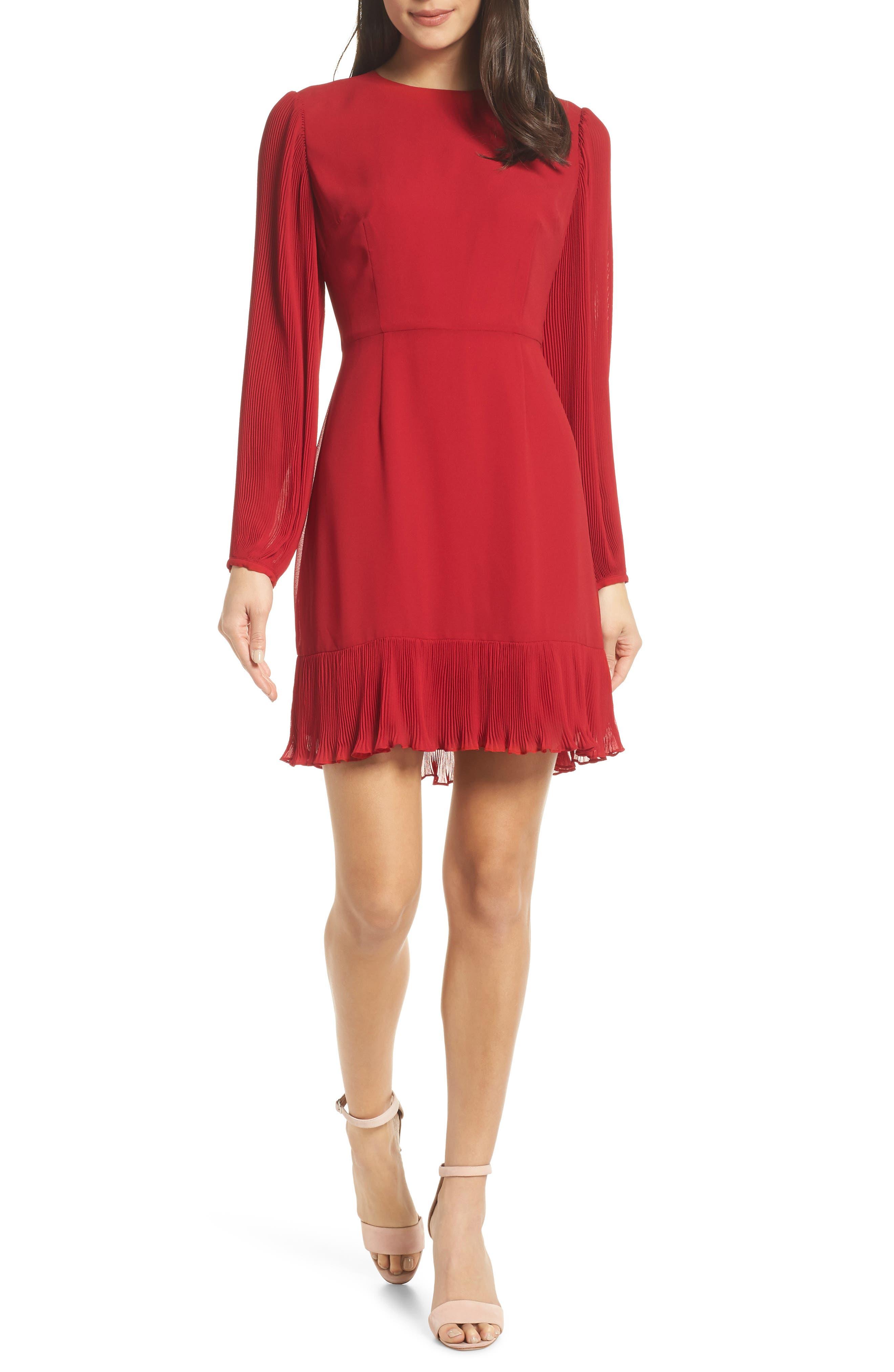 Chelsea28 Pleat Sleeve & Ruffle Hem Dress, Red