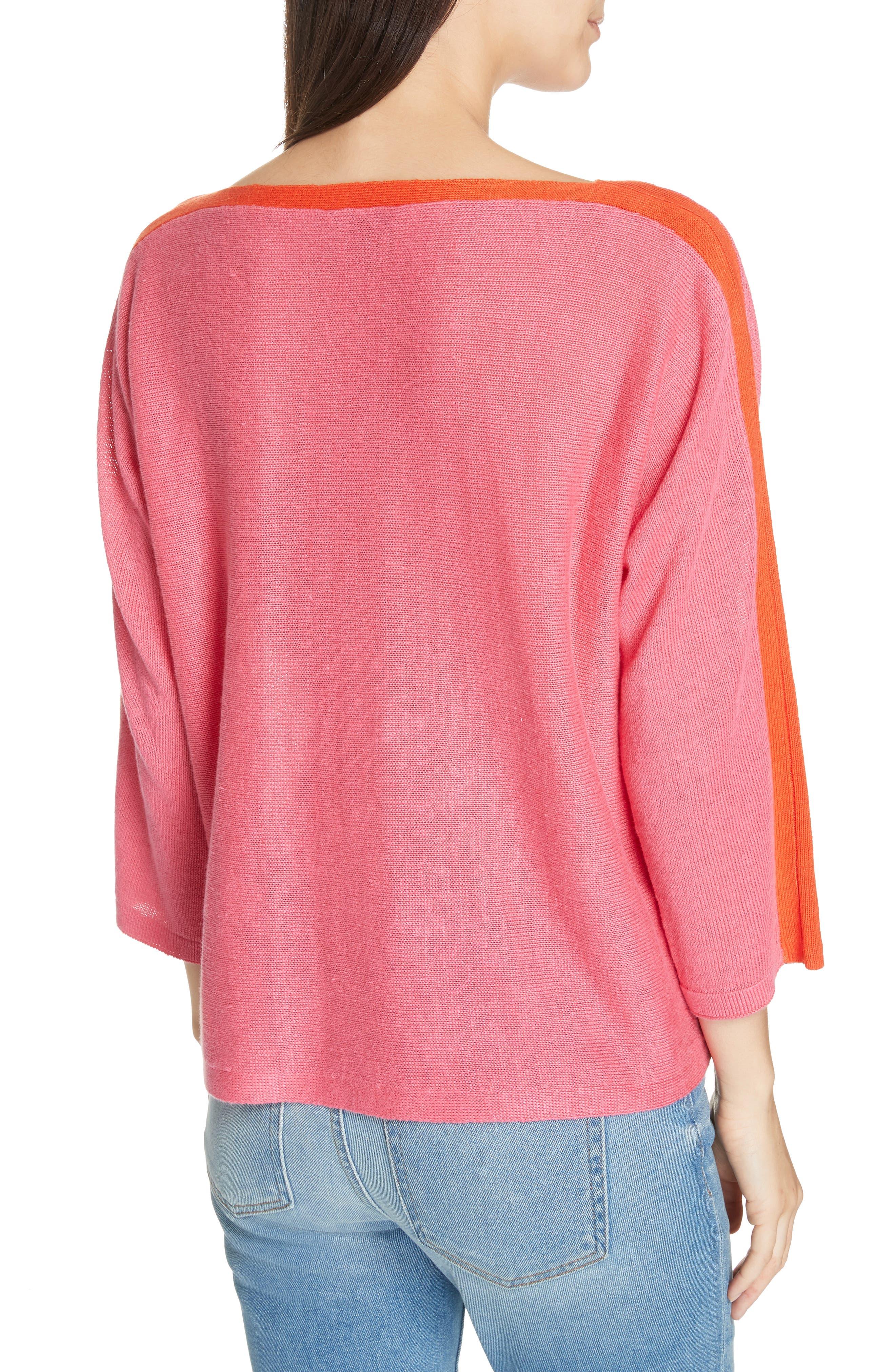 Stripe Detail Linen Sweater,                             Alternate thumbnail 2, color,                             CHERRY LANE