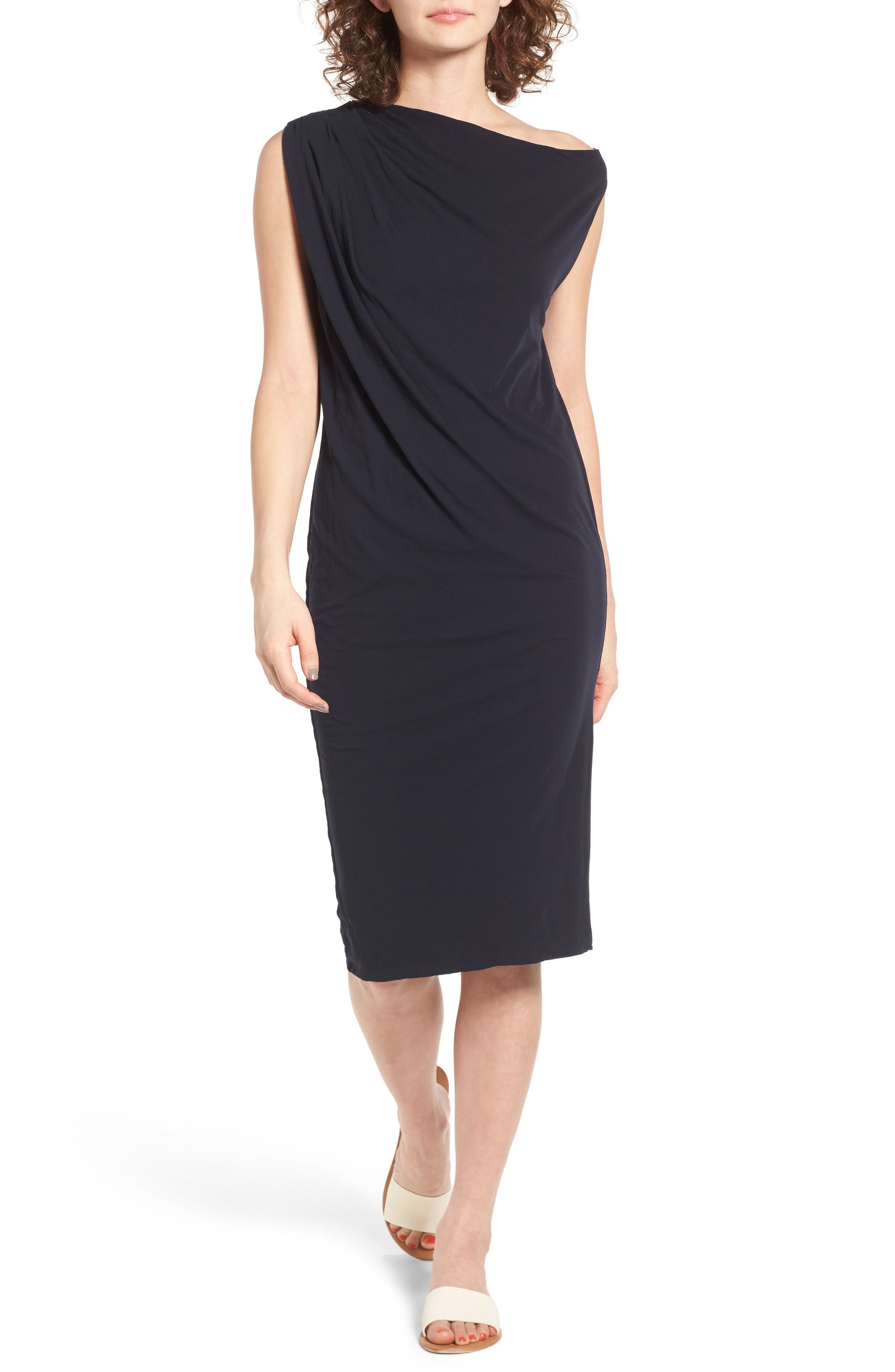 Draped One-Shoulder Midi Dress,                             Main thumbnail 3, color,