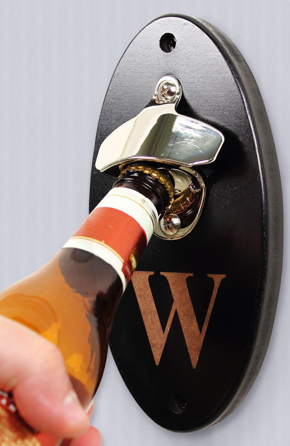 Monogram Wall Mount Bottle Opener,                             Alternate thumbnail 3, color,                             000