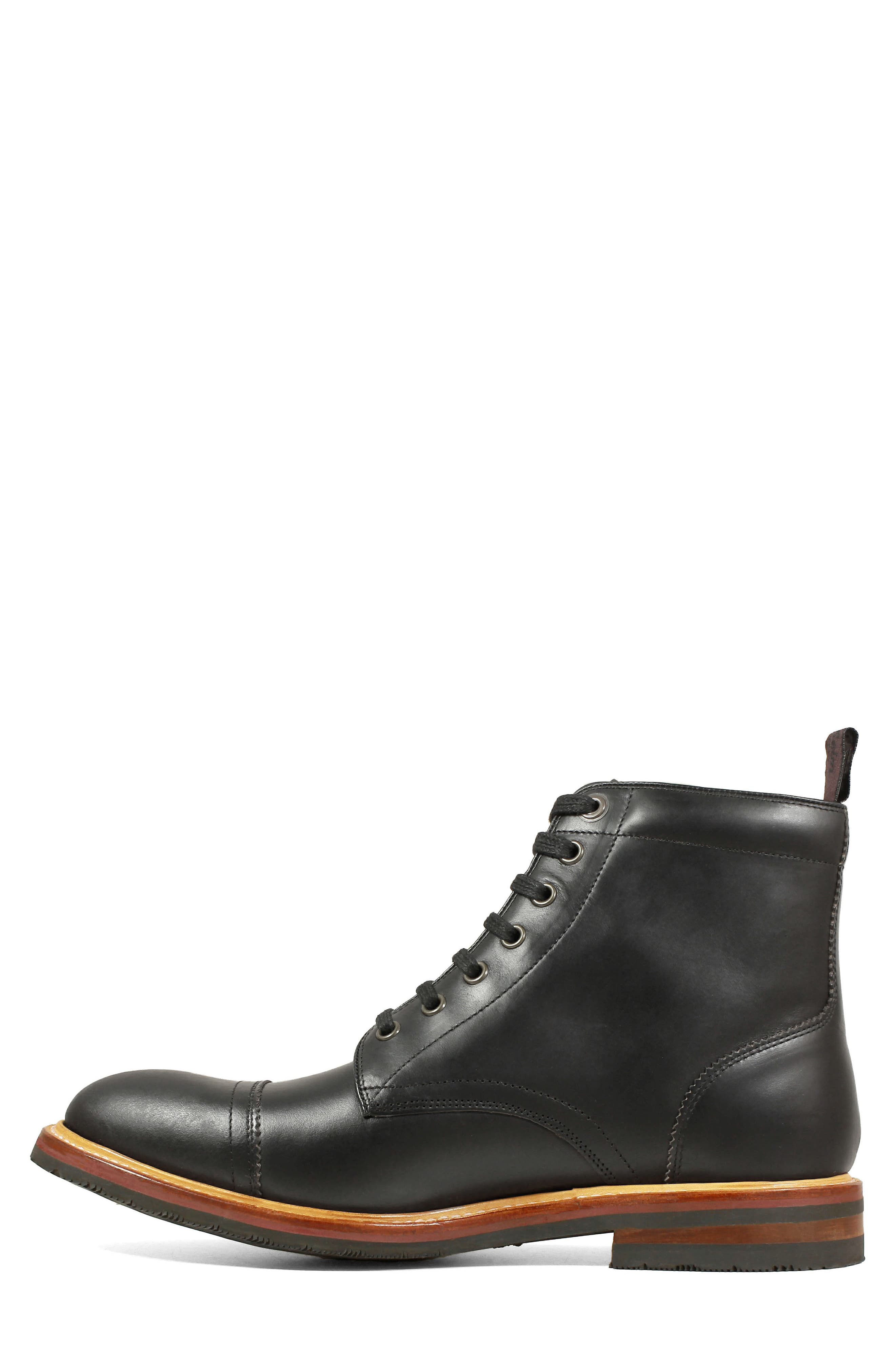Founcry Cap Toe Boot,                             Alternate thumbnail 7, color,                             BLACK LEATHER