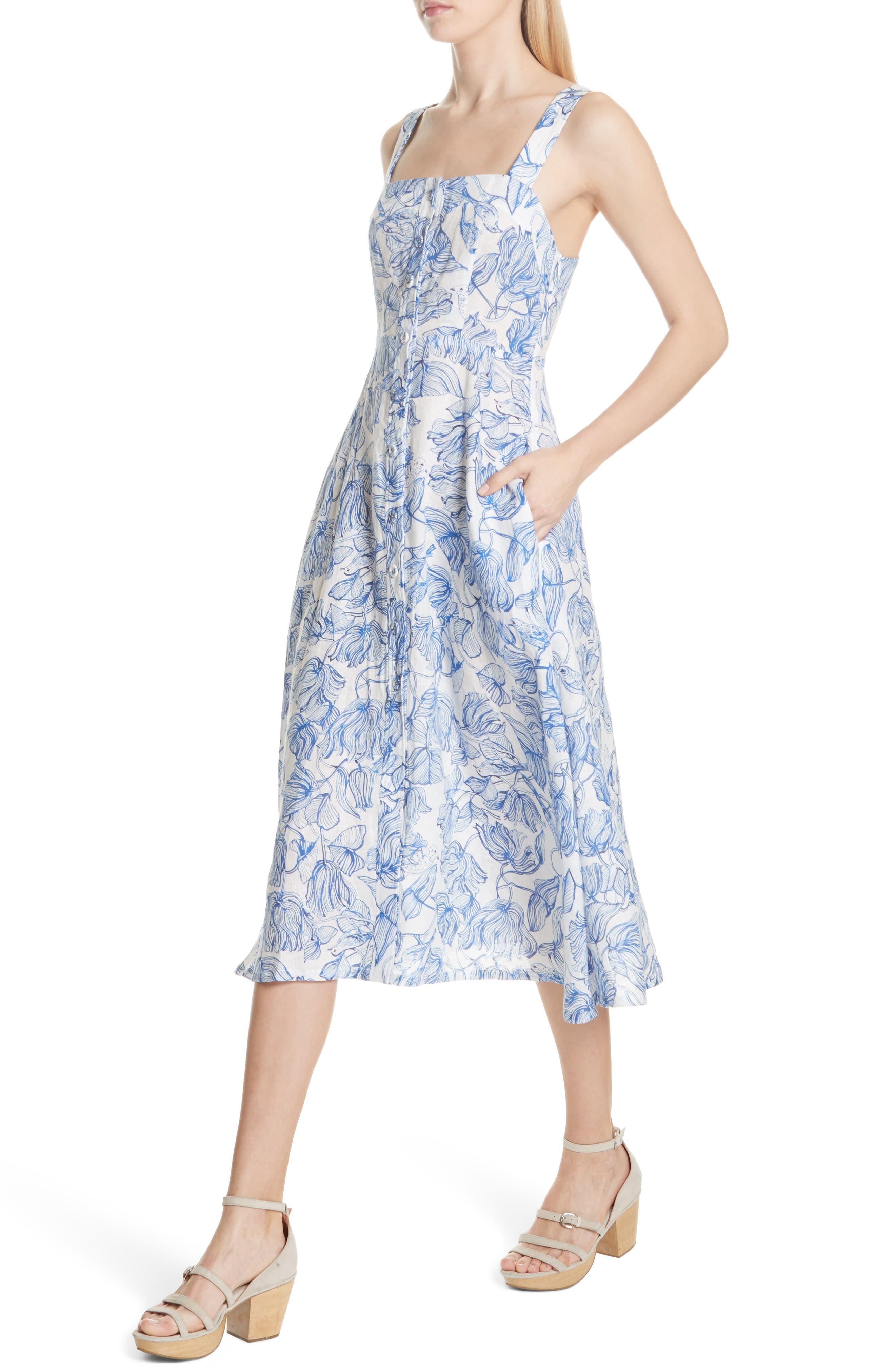 RACHEL COMEY,                             Lido Linen Dress,                             Alternate thumbnail 4, color,                             435