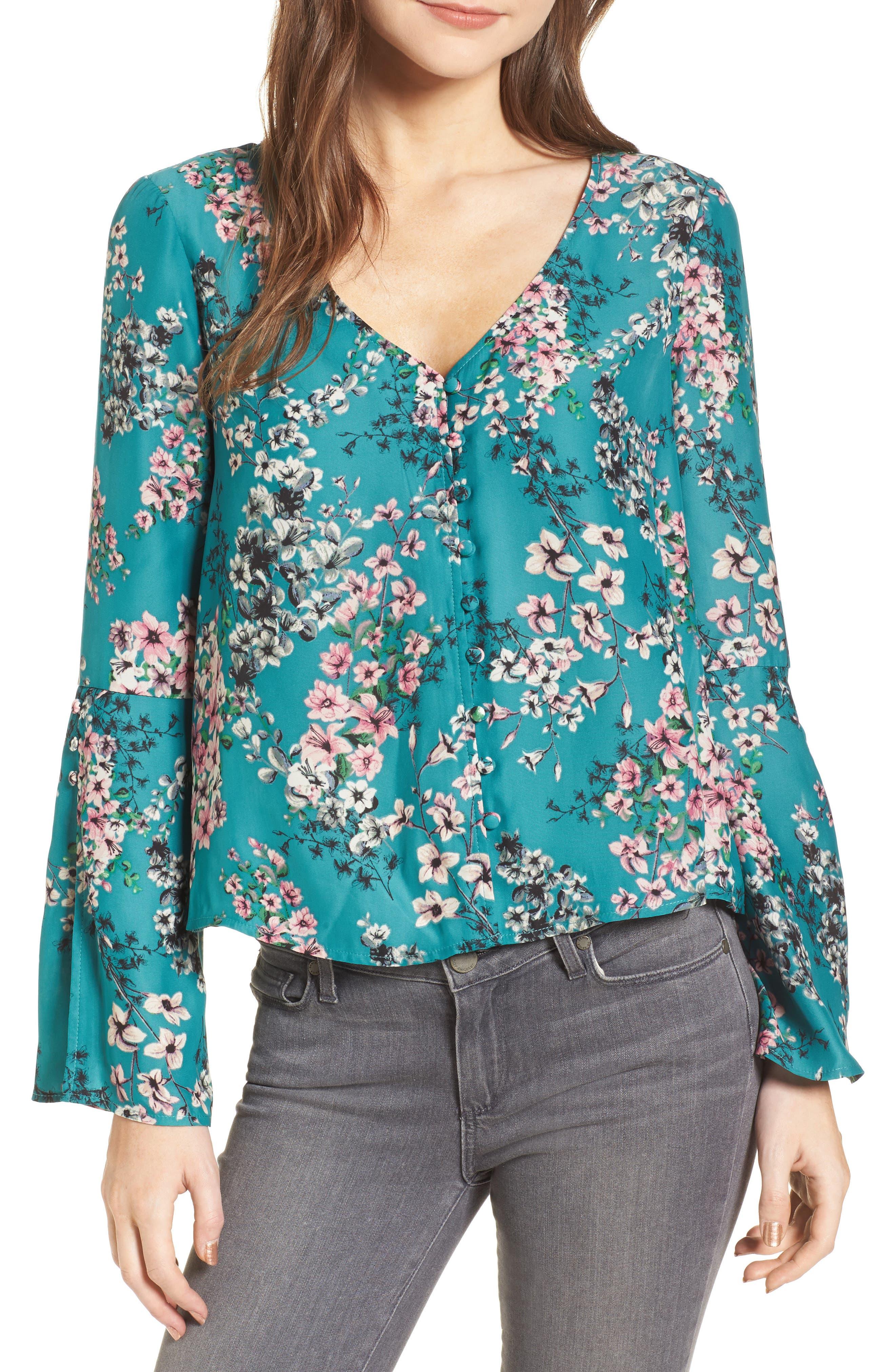 Nadette Floral Blouse,                             Main thumbnail 2, color,