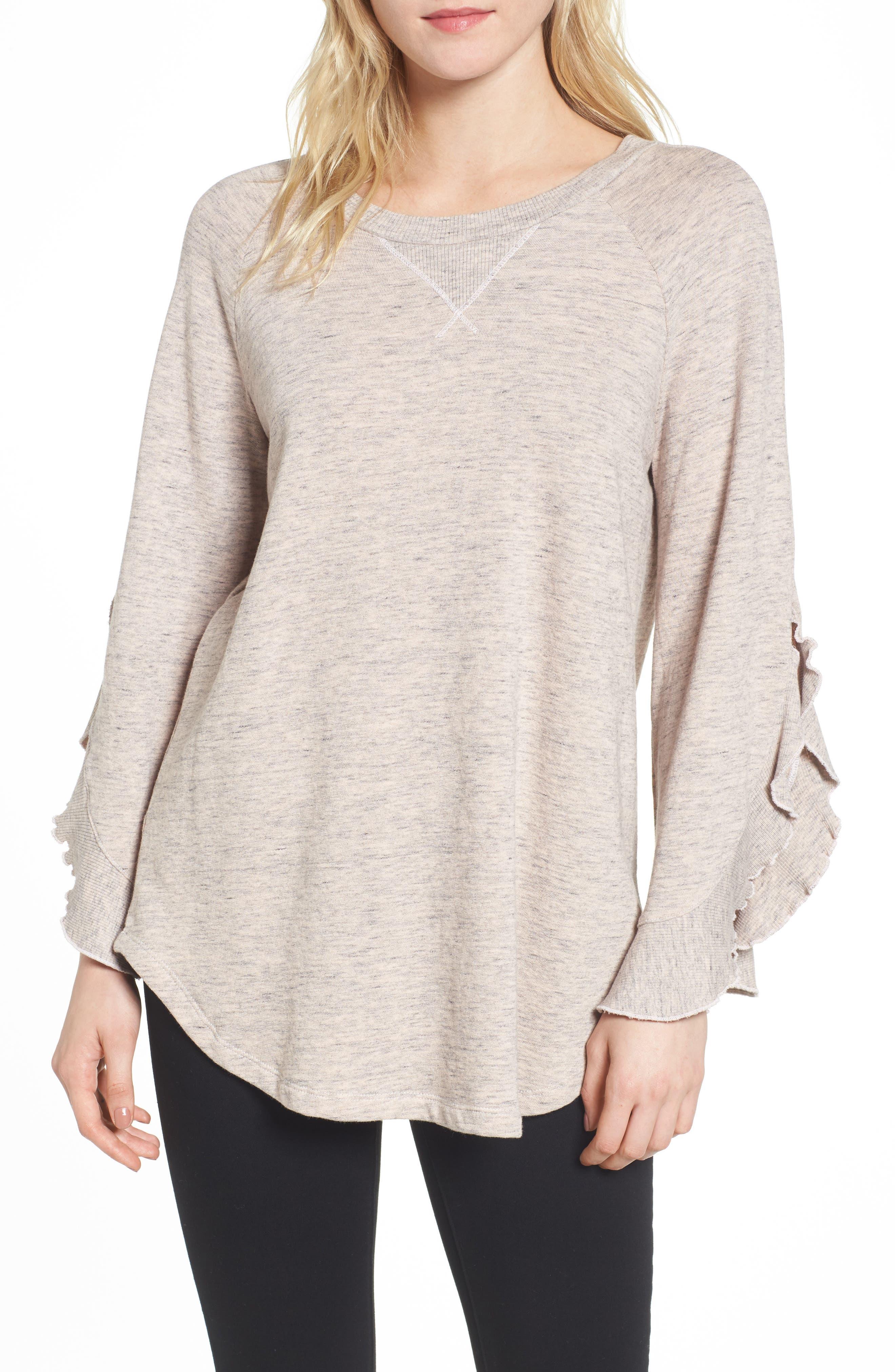 Ruffle Split Sleeve Cotton Sweatshirt,                             Main thumbnail 2, color,