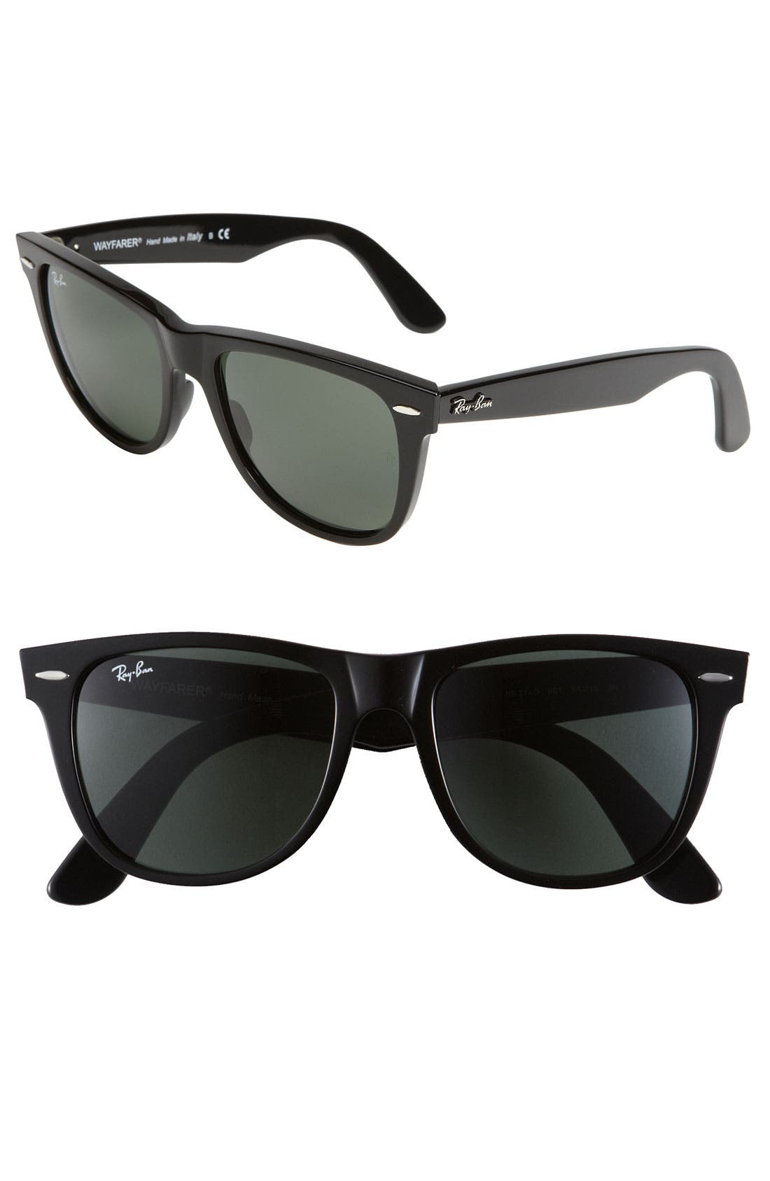 'Classic Wayfarer' 50mm Sunglasses,                             Main thumbnail 1, color,                             001