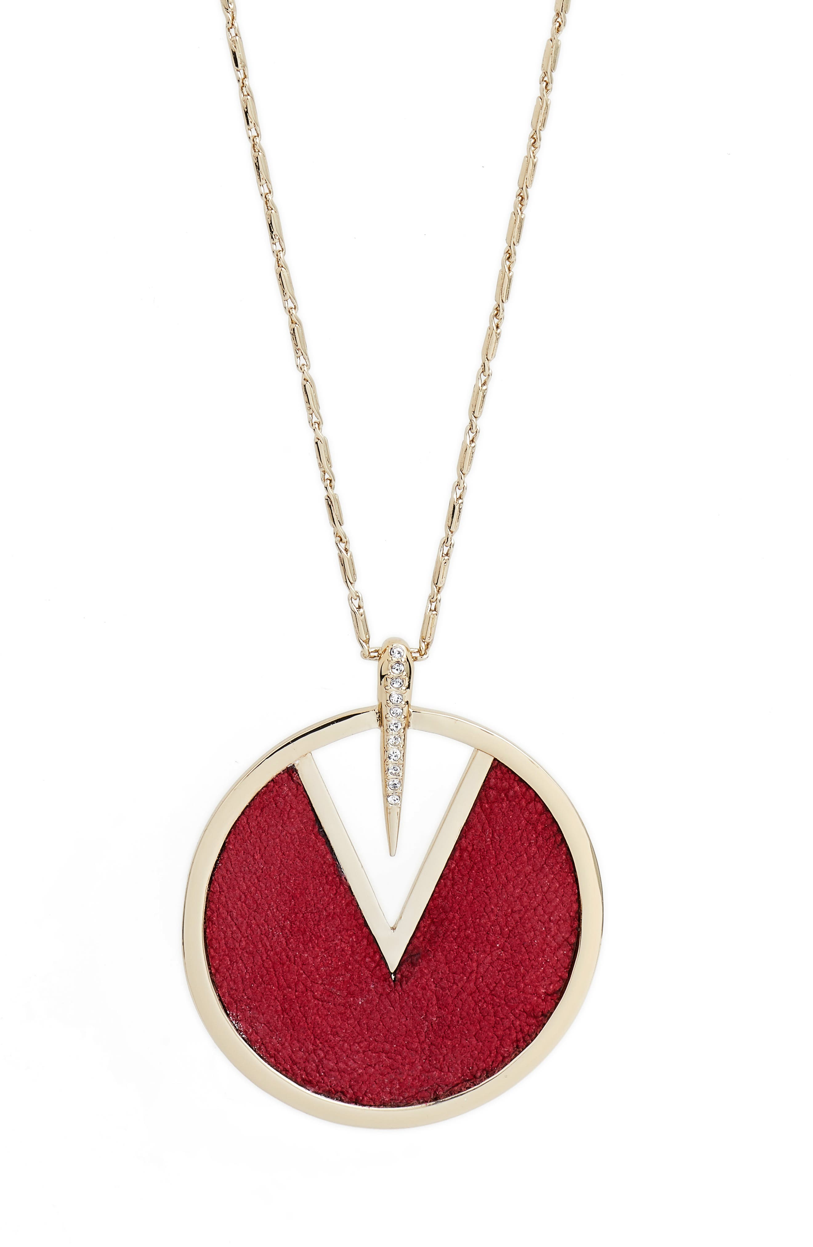 Inlaid Leather Pendant Necklace,                             Alternate thumbnail 6, color,