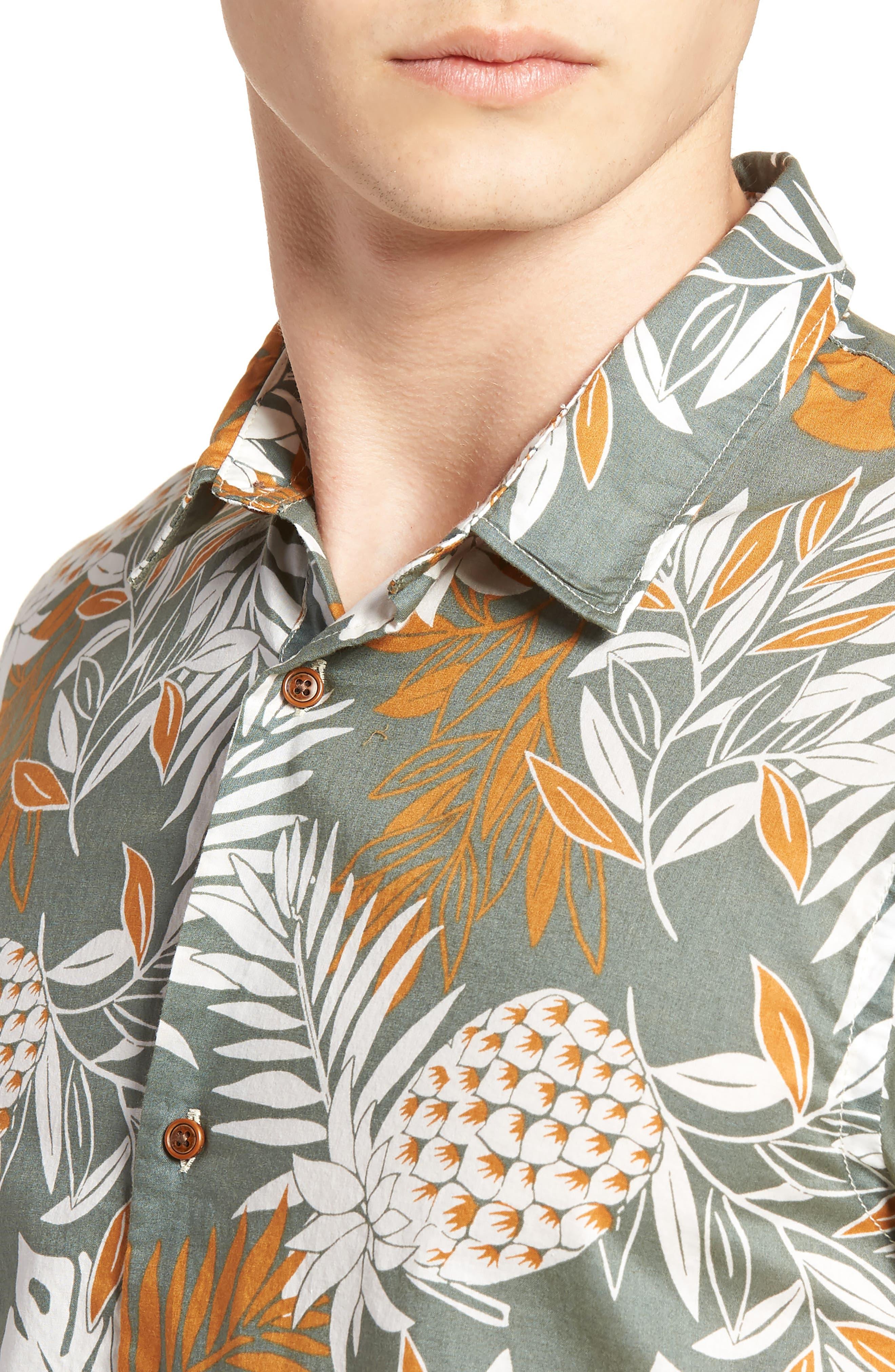 Floral Print Woven Shirt,                             Alternate thumbnail 4, color,                             100