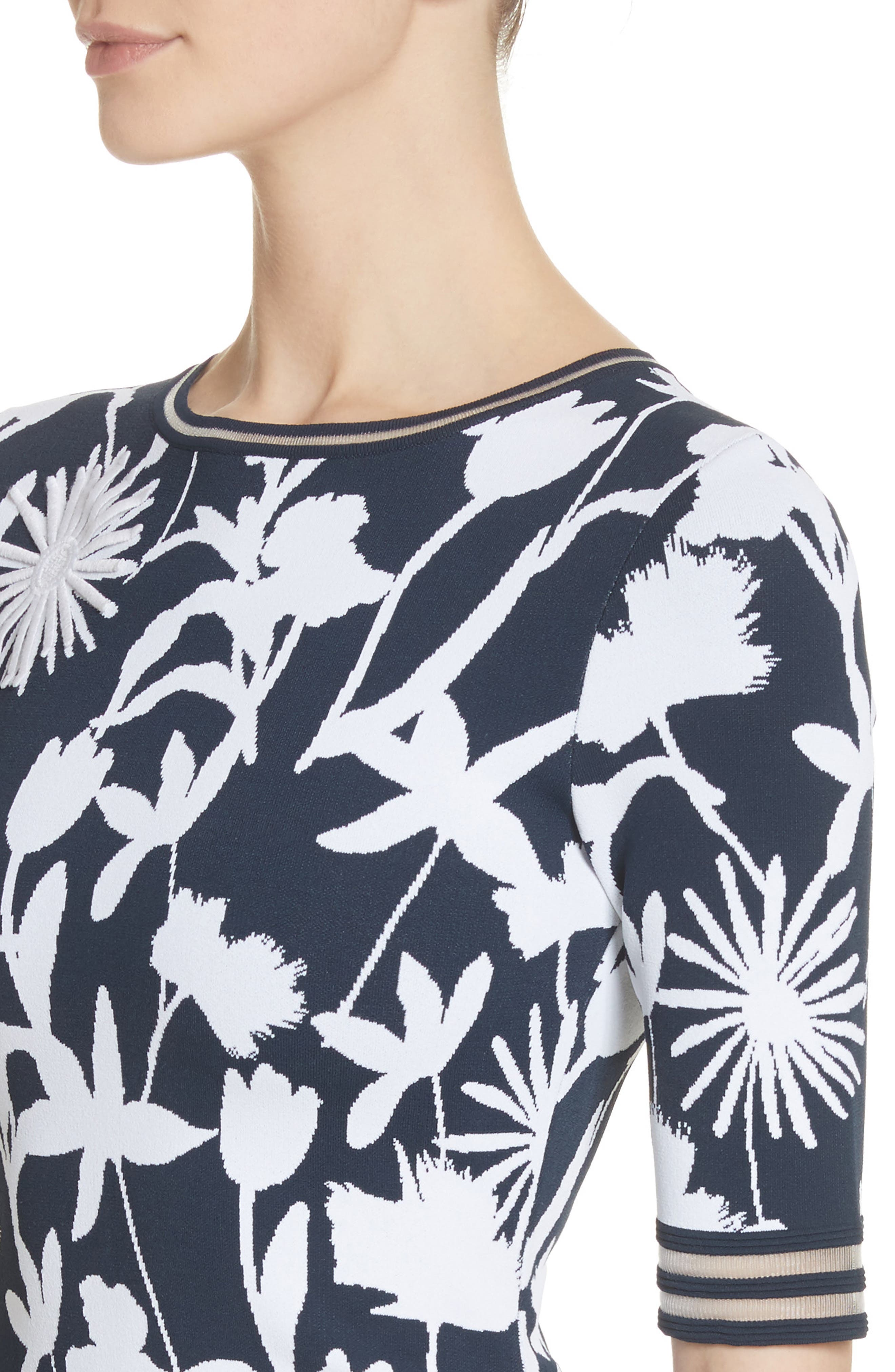 Floral Appliqué Intarsia Knit Dress,                             Alternate thumbnail 4, color,                             184