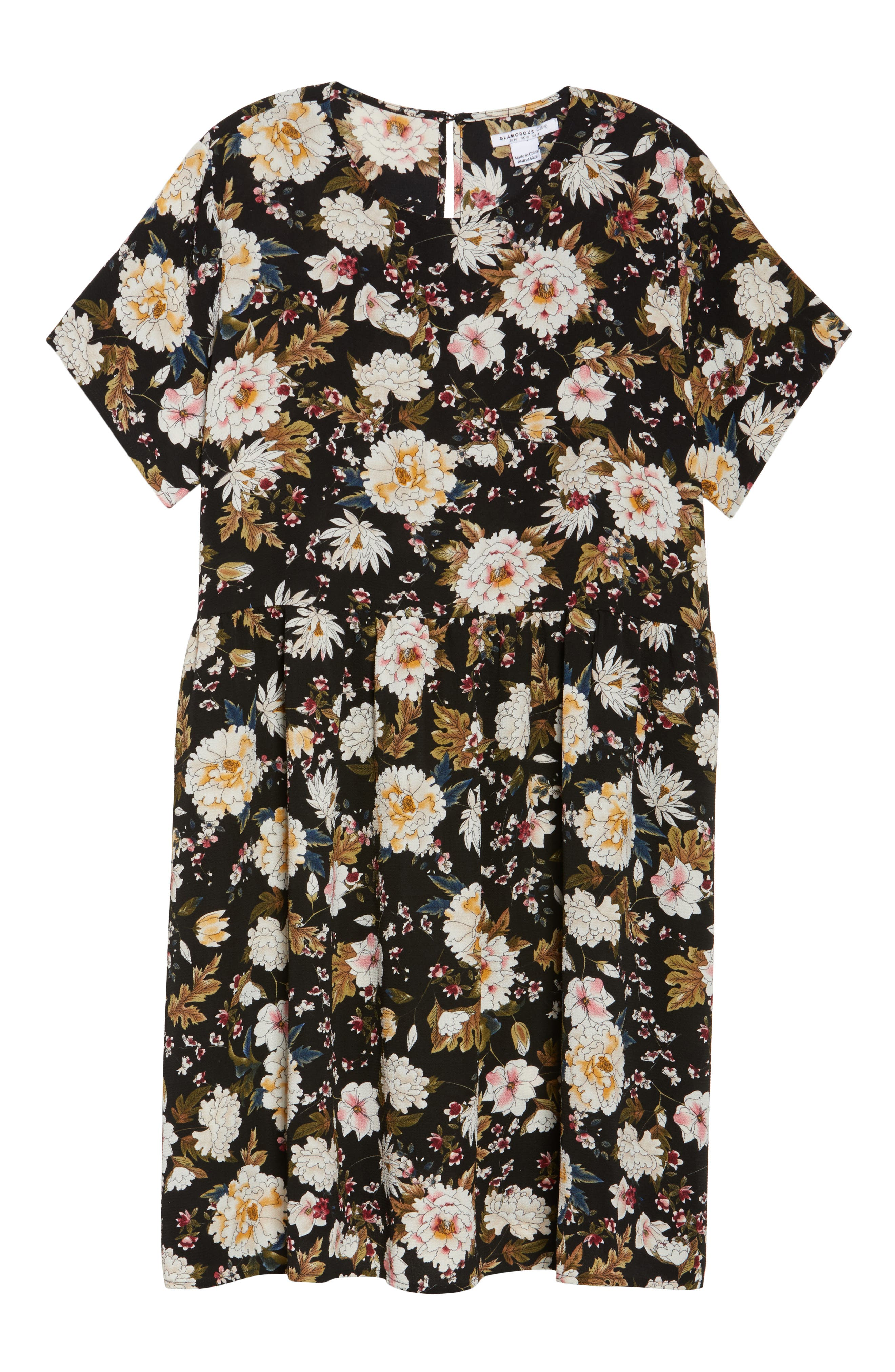 Empire Waist Floral Print Dress,                             Alternate thumbnail 6, color,                             009