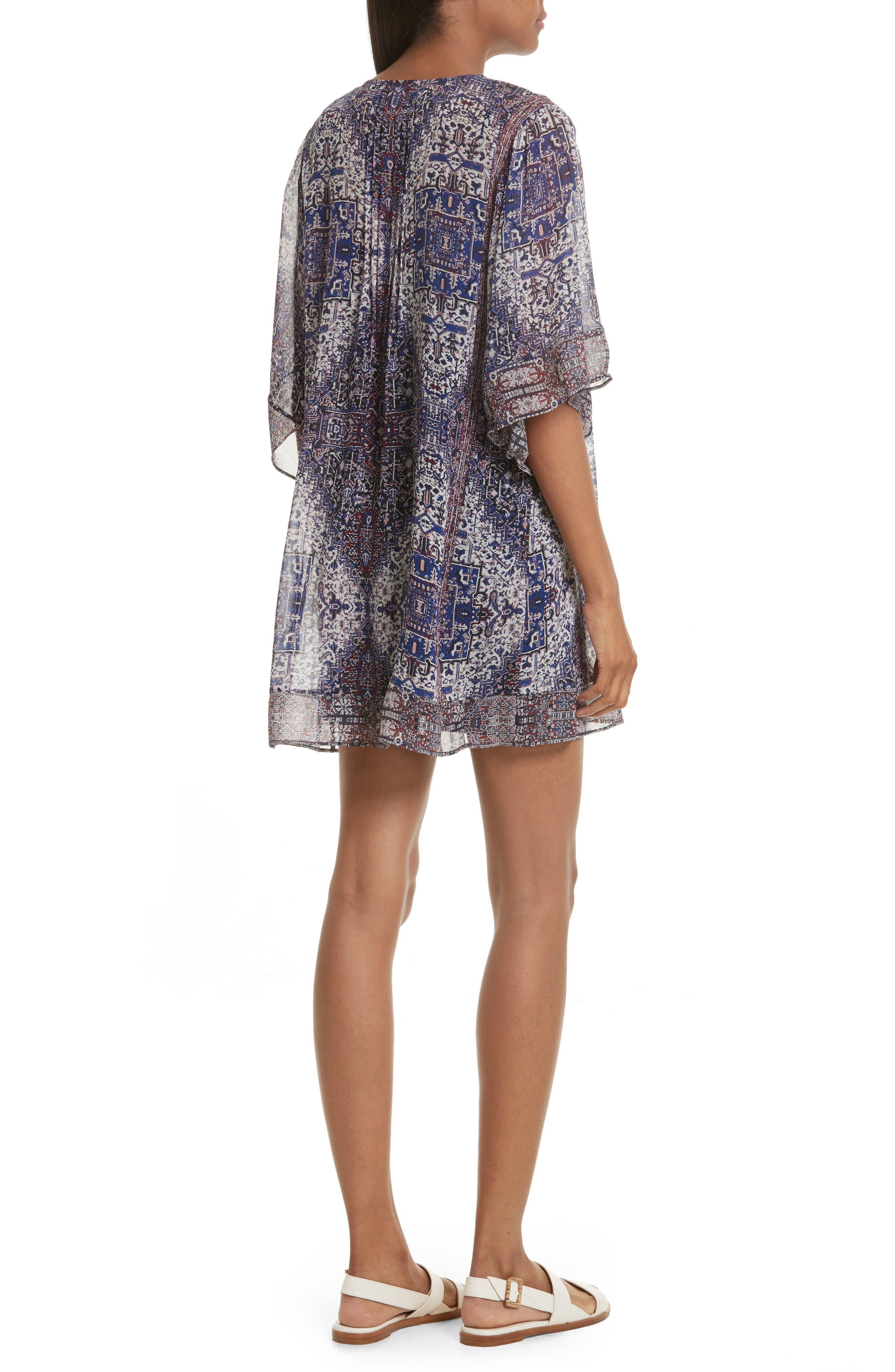 Hadiya Print Silk Dress,                             Alternate thumbnail 2, color,