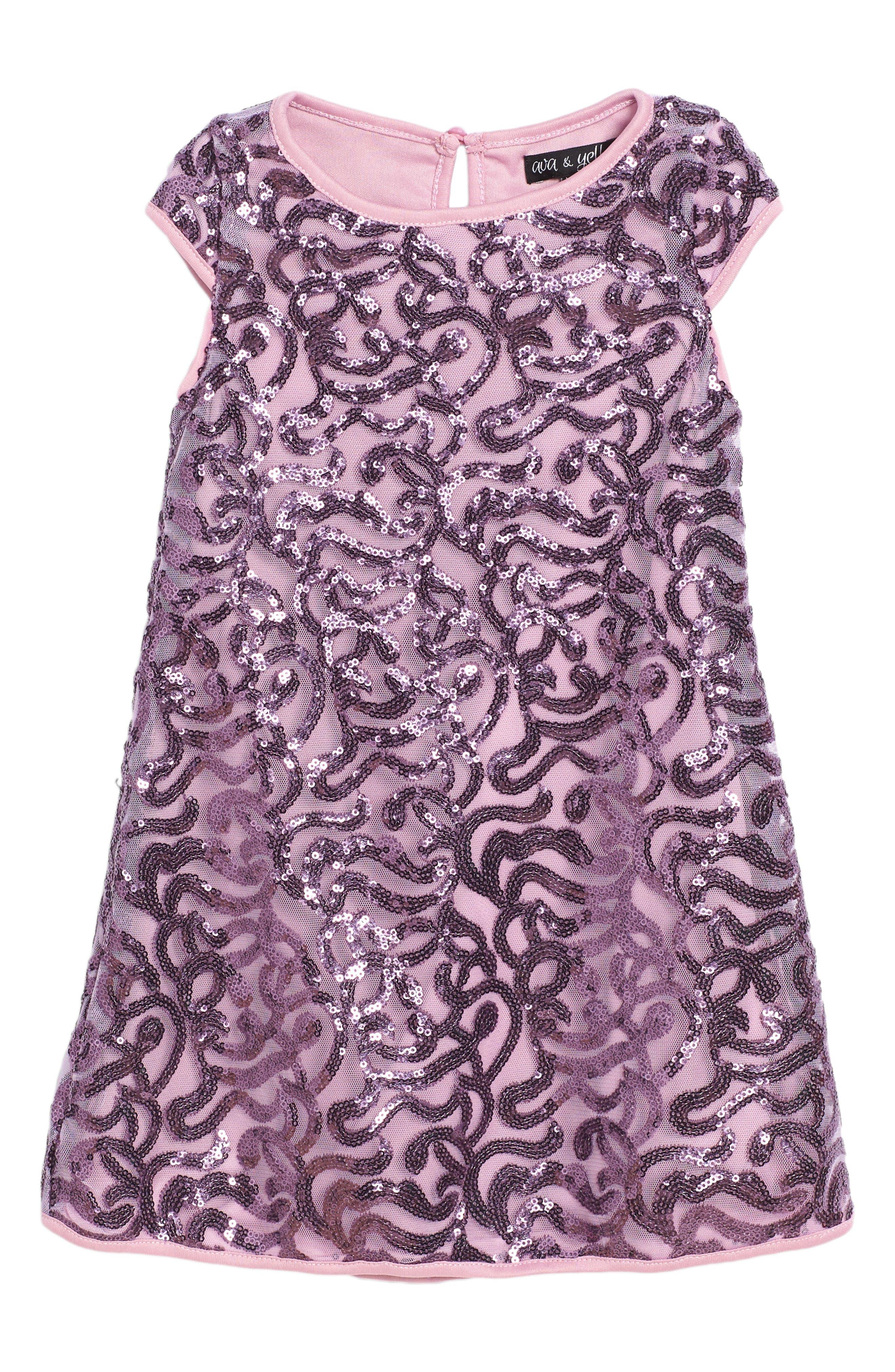 Sequin Swirl Shift Dress,                             Main thumbnail 1, color,                             530