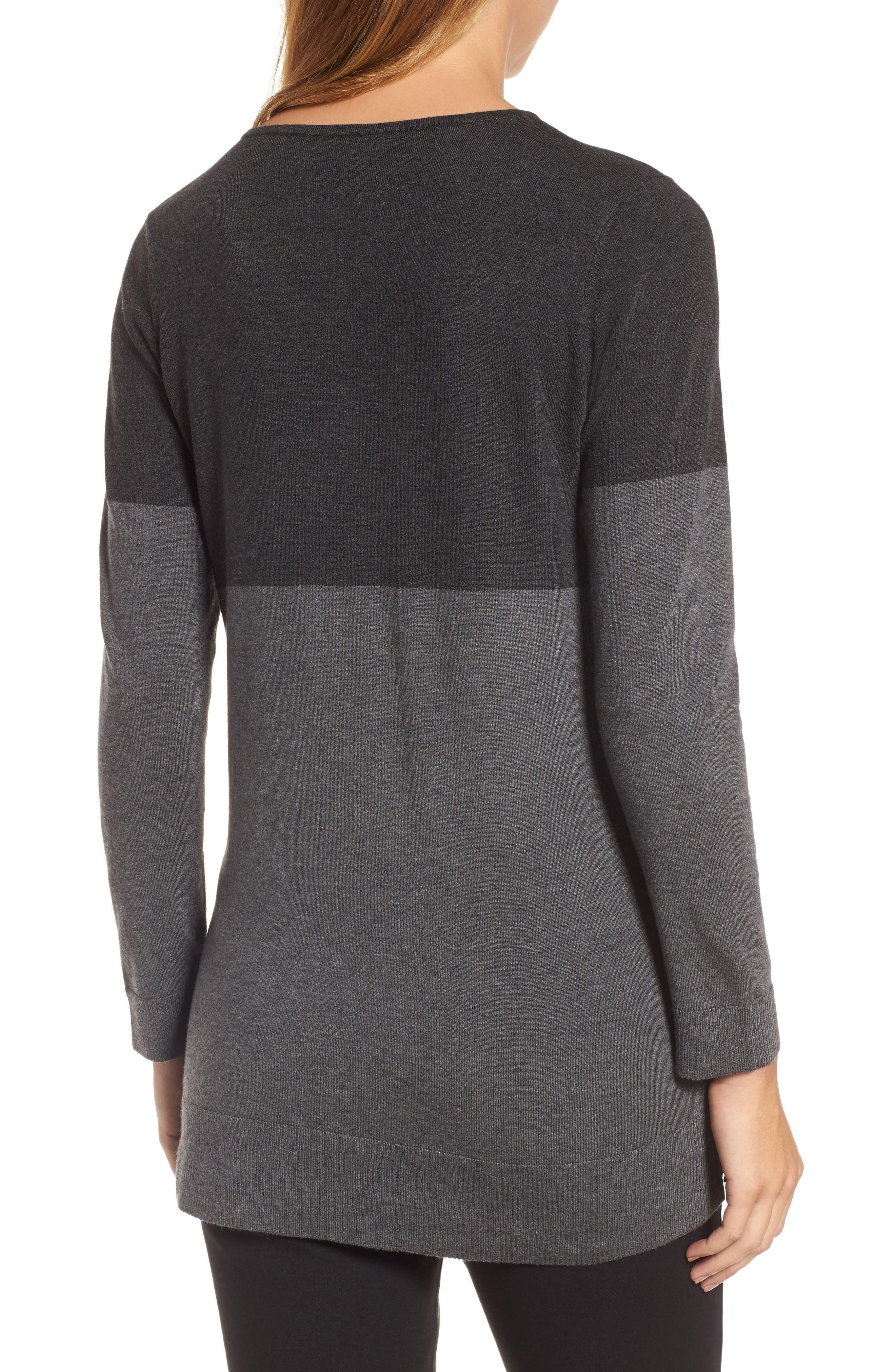 Colorblock Tencel<sup>®</sup> Blend Sweater,                             Alternate thumbnail 2, color,                             064