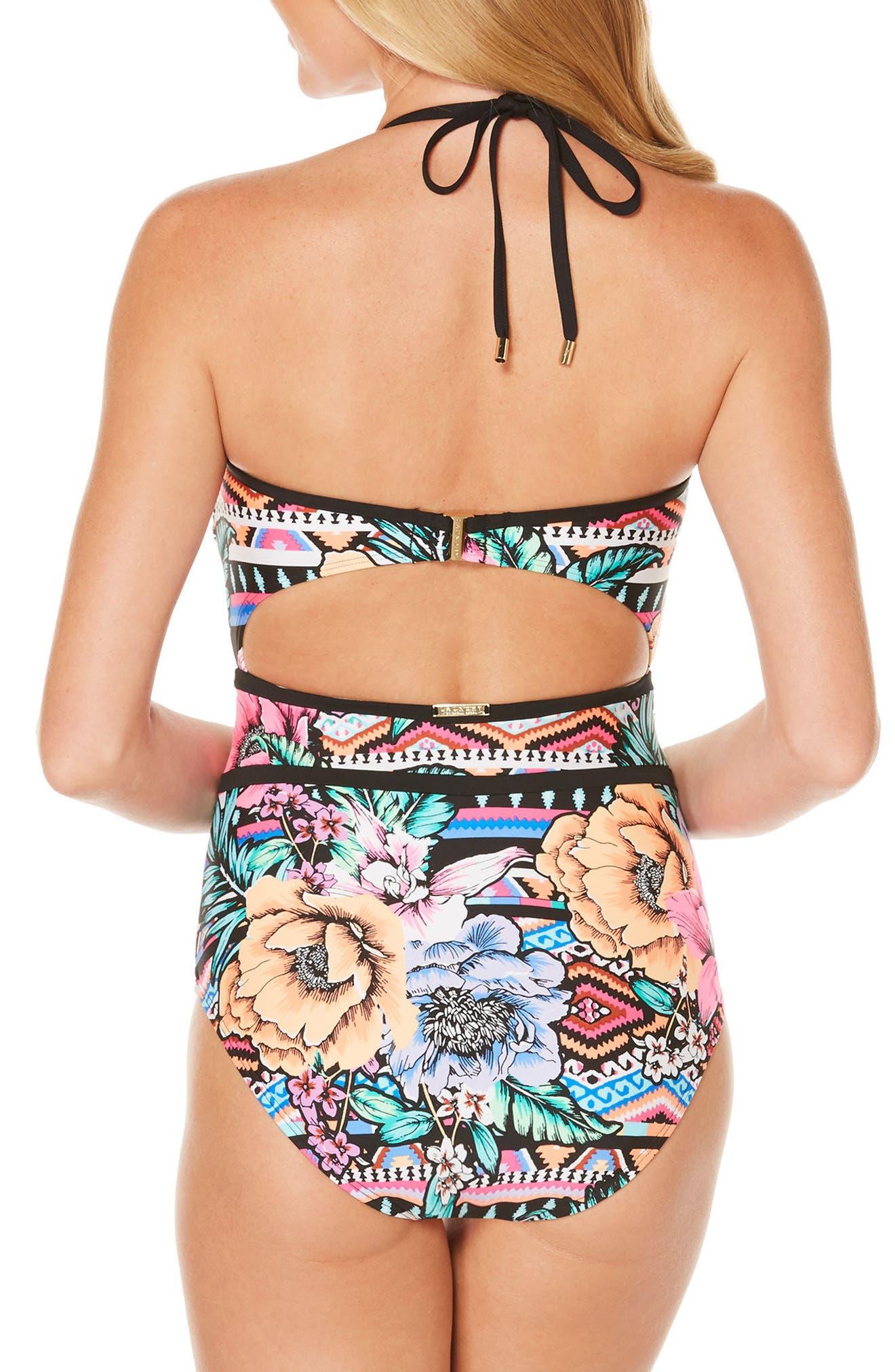 Laguna Flora One-Piece Swimsuit,                             Alternate thumbnail 2, color,                             001