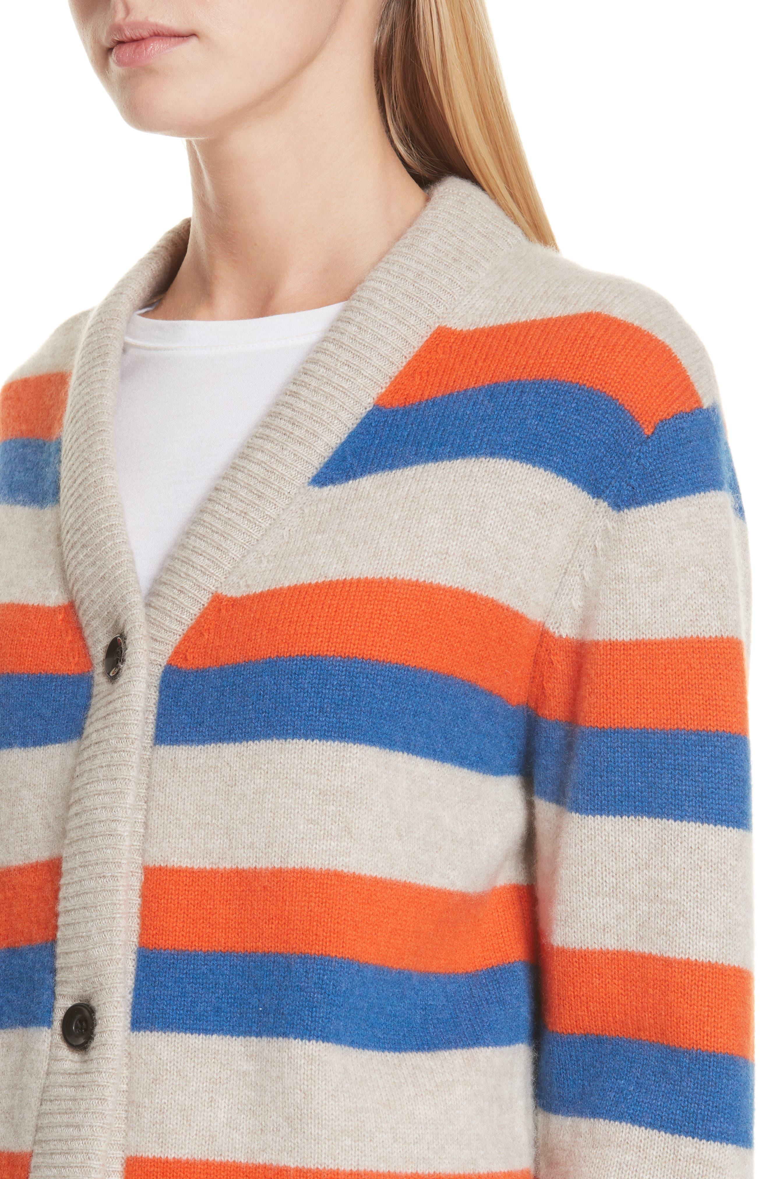 The Remus Stripe Cashmere Cardigan,                             Alternate thumbnail 4, color,                             SAND