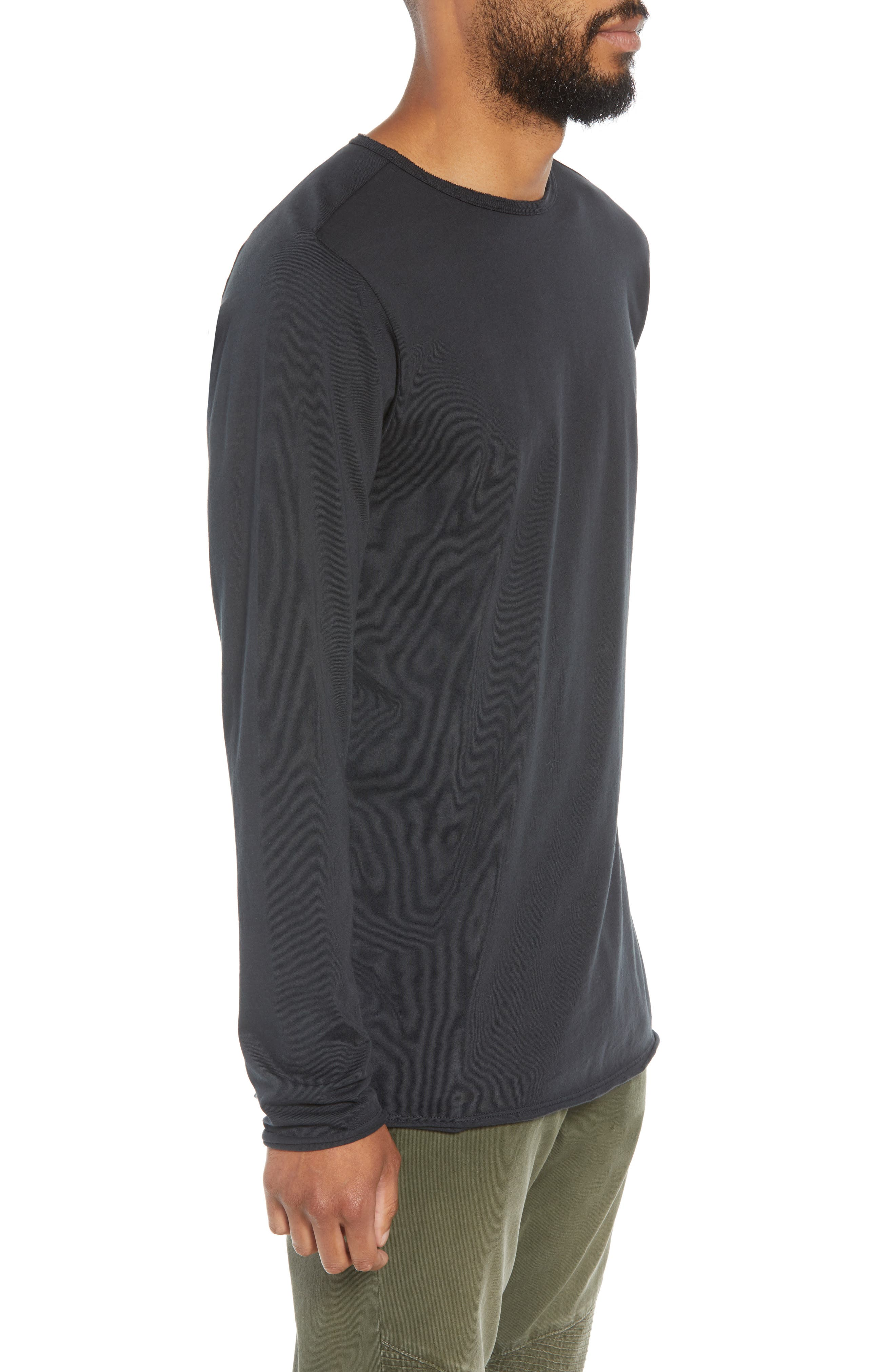 Hudson Elongated Long Sleeve T-Shirt,                             Alternate thumbnail 3, color,                             BLACK