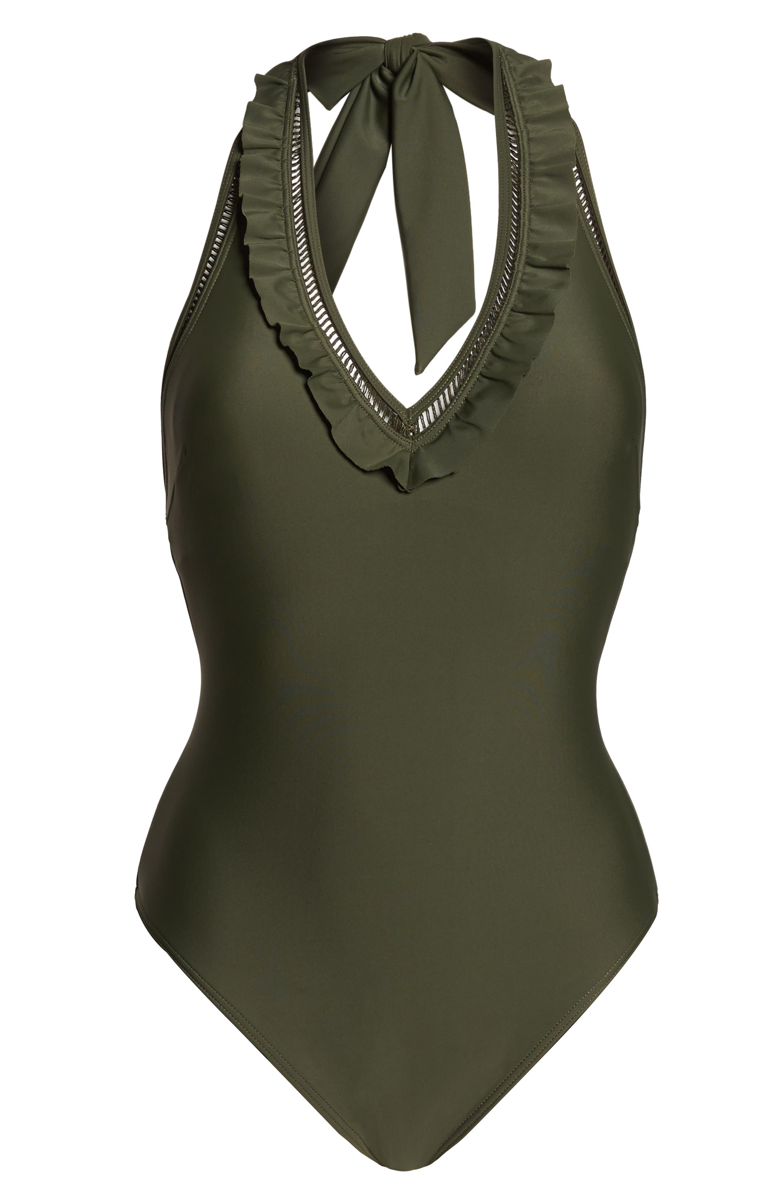 Blanna Deep-V Ruffle One-Piece Swimsuit,                             Alternate thumbnail 6, color,                             DARK GREEN