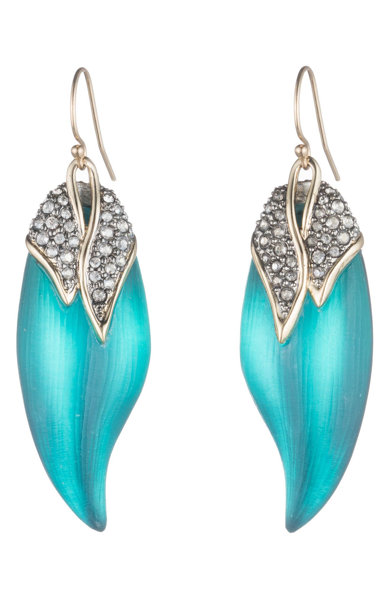 Crystal Encrusted Capped Feather Earrings,                             Main thumbnail 1, color,                             LAKE BLUE