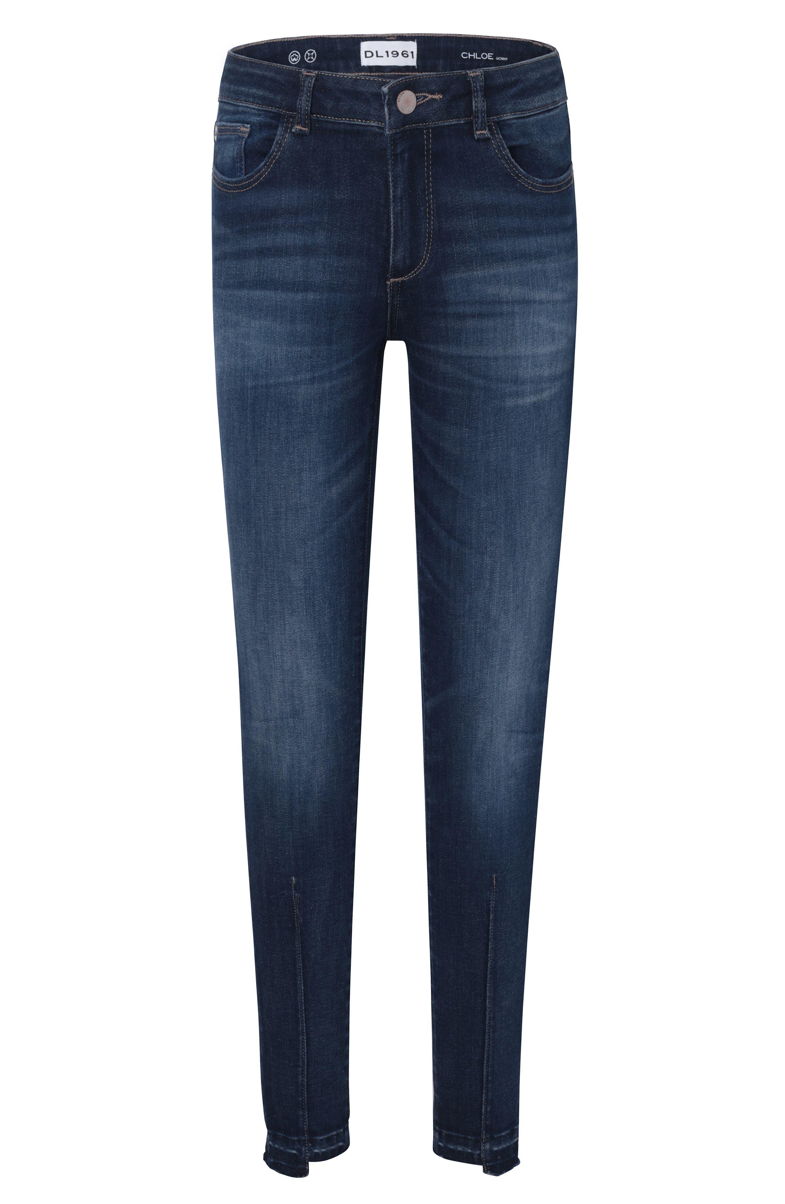 Chloe Step Hem Stretch Denim Skinny Jeans,                             Main thumbnail 1, color,                             LIMELIGHT