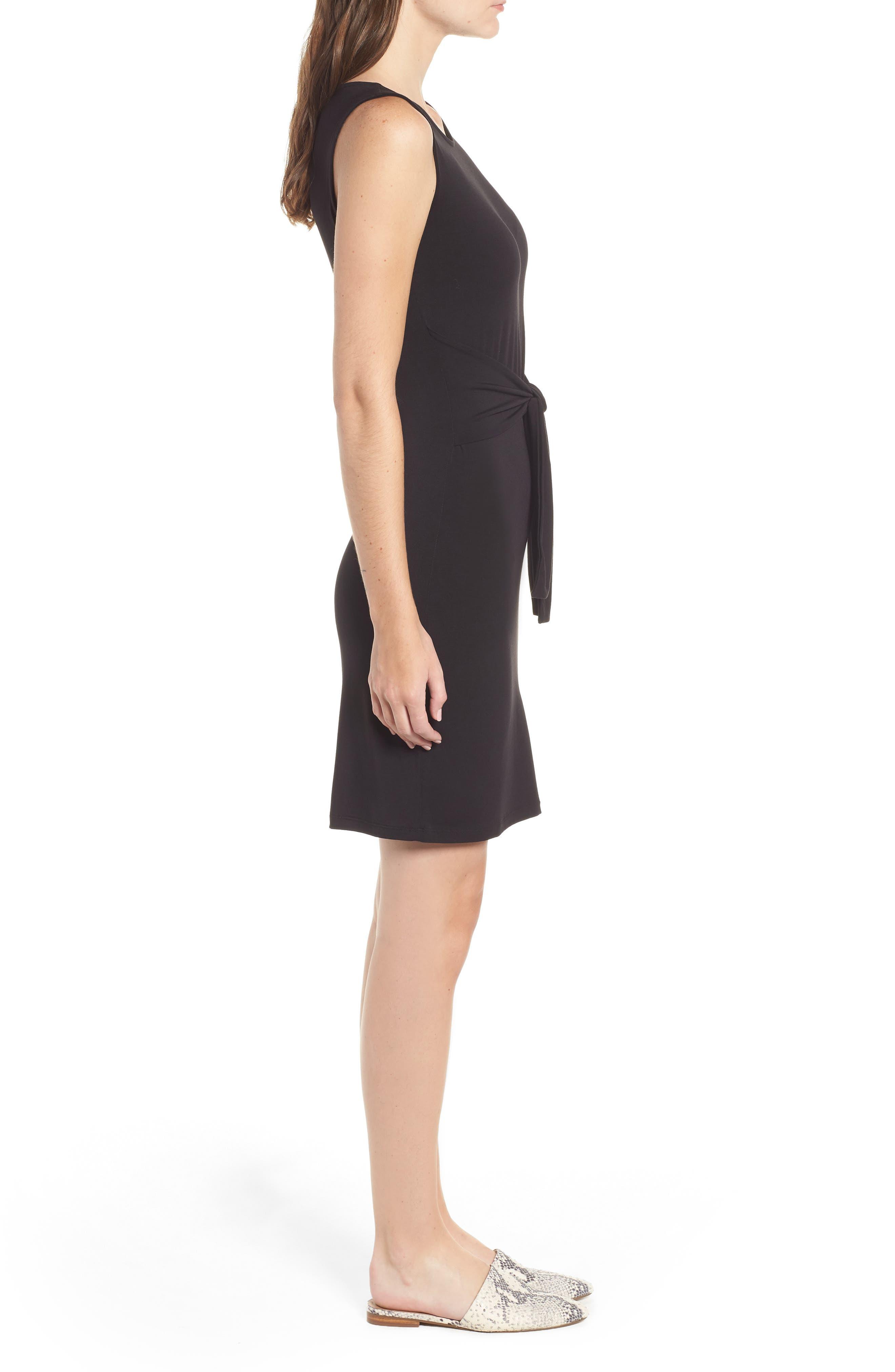 Tie Waist Body-Con Dress,                             Alternate thumbnail 3, color,                             BLACK