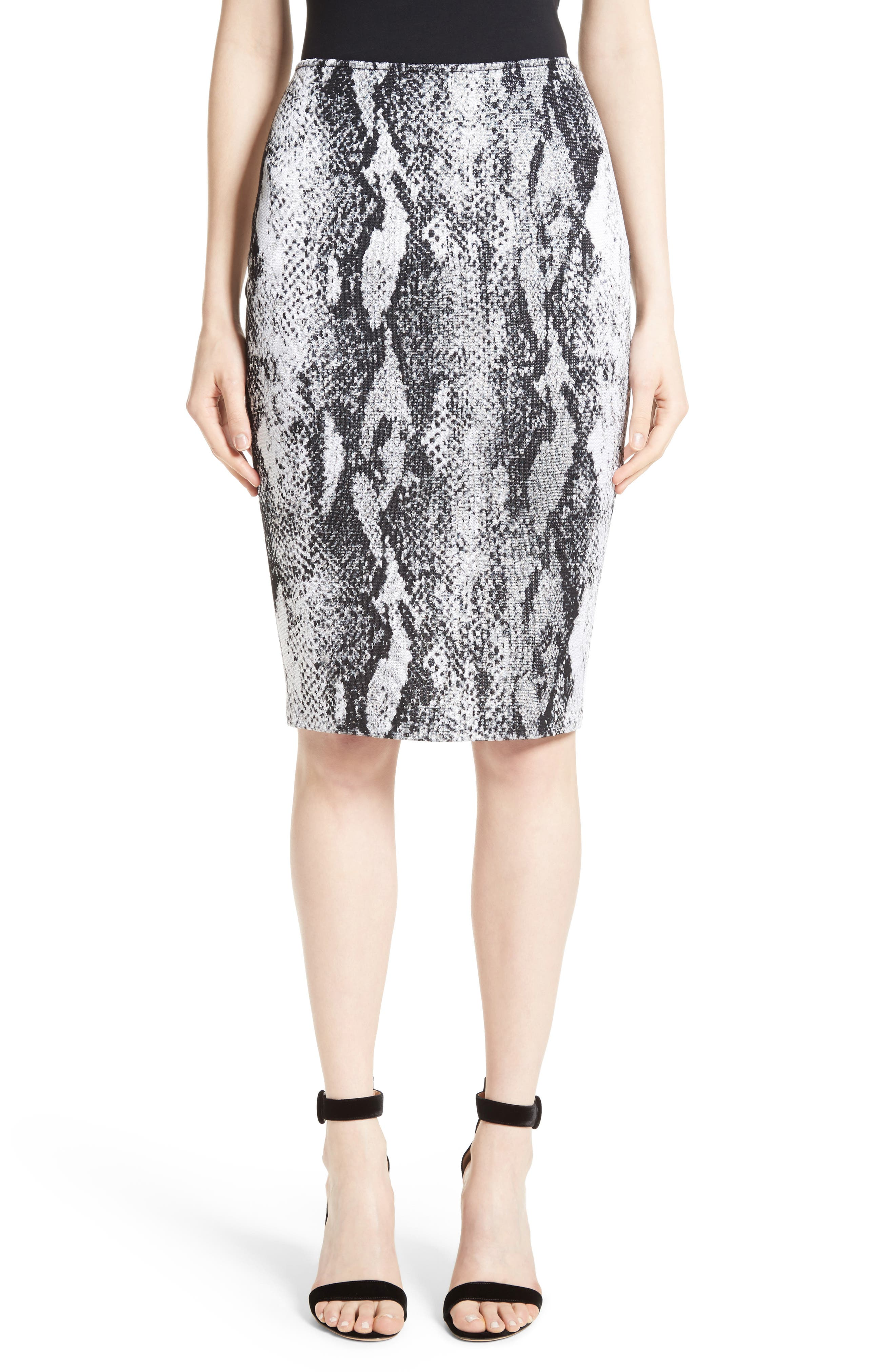 Raja Snakeskin Knit Pencil Skirt,                         Main,                         color, 050