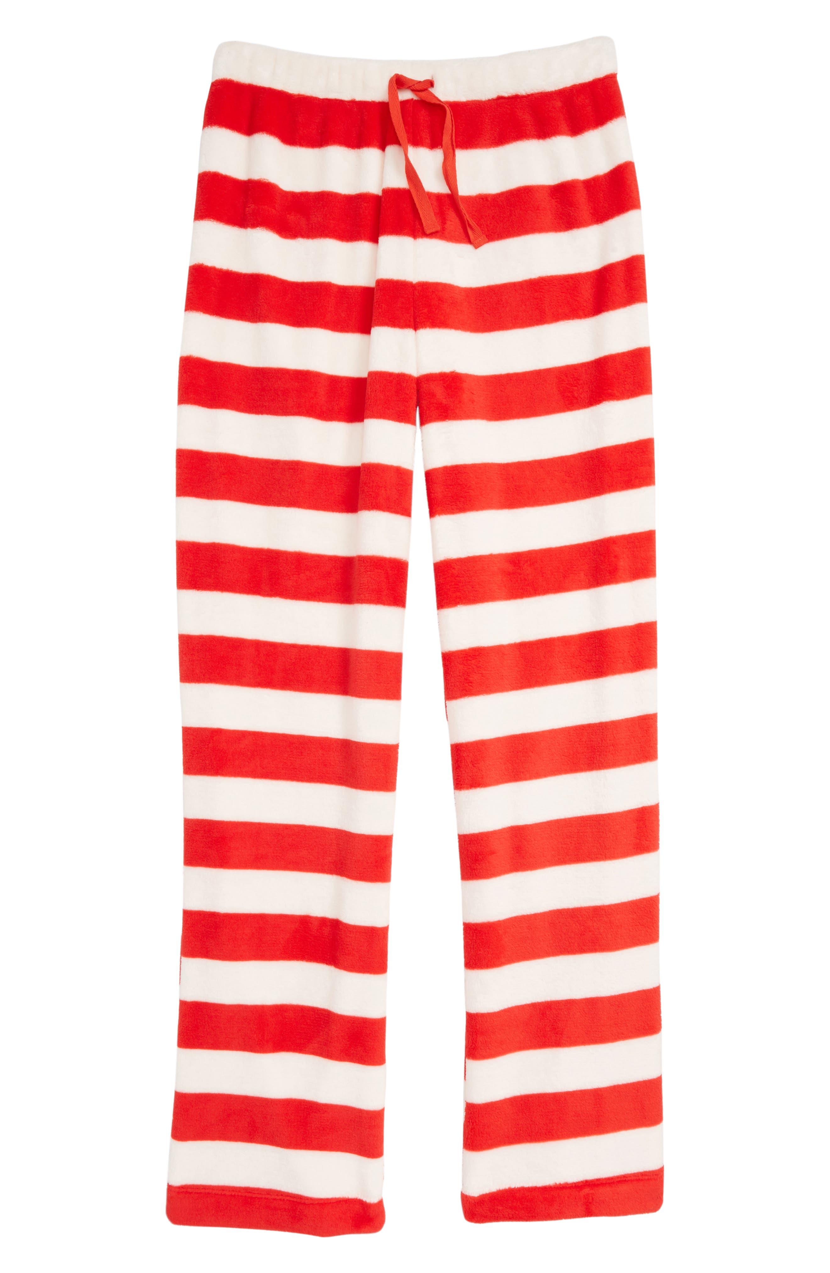 Fleece Pajama Pants,                         Main,                         color, RED BLOOM- IVORY STRIPE