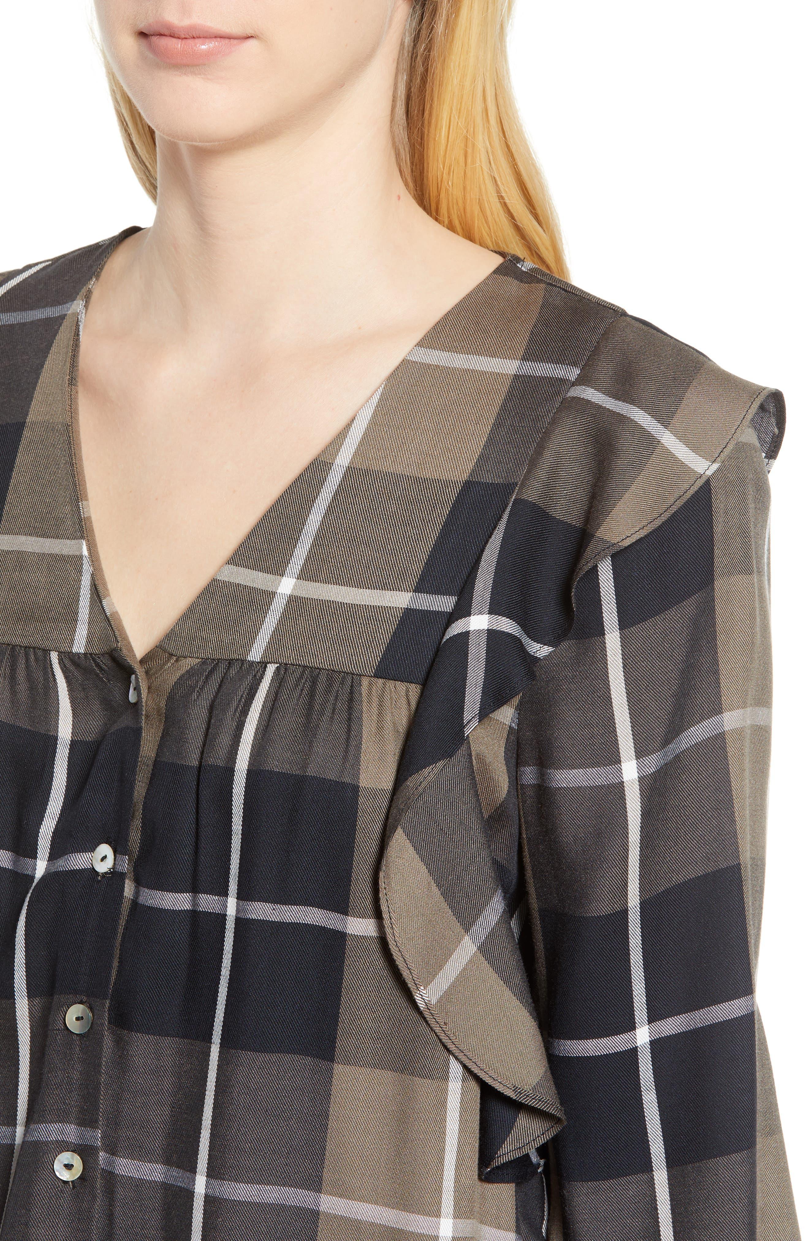 Ruffled Plaid Shirt,                             Alternate thumbnail 4, color,                             001