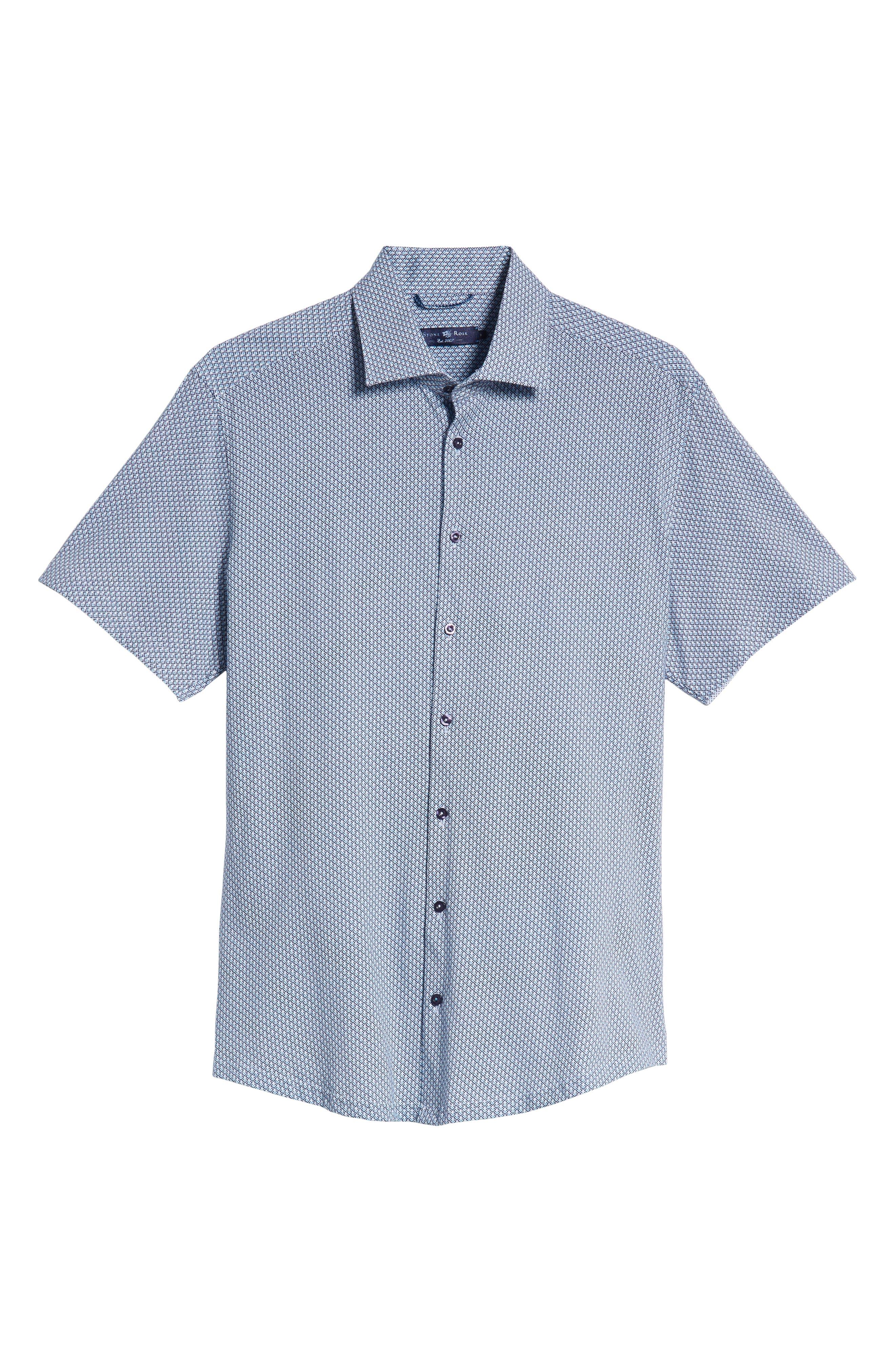 Trim Fit Geo Print Sport Shirt,                             Alternate thumbnail 5, color,                             BLUE