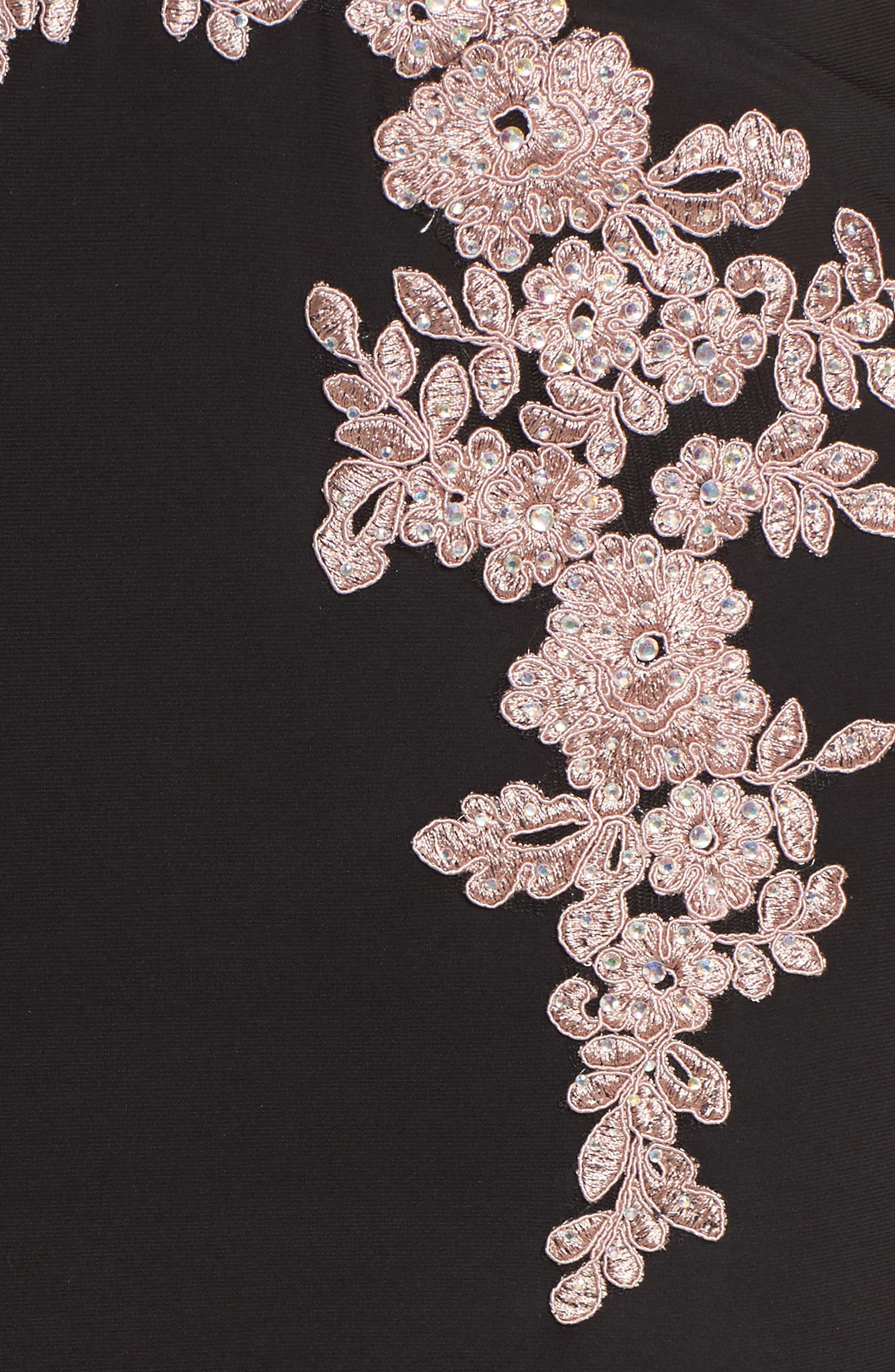 BLONDIE NITES,                             Appliqué Strapless Bustier Gown,                             Alternate thumbnail 5, color,                             015