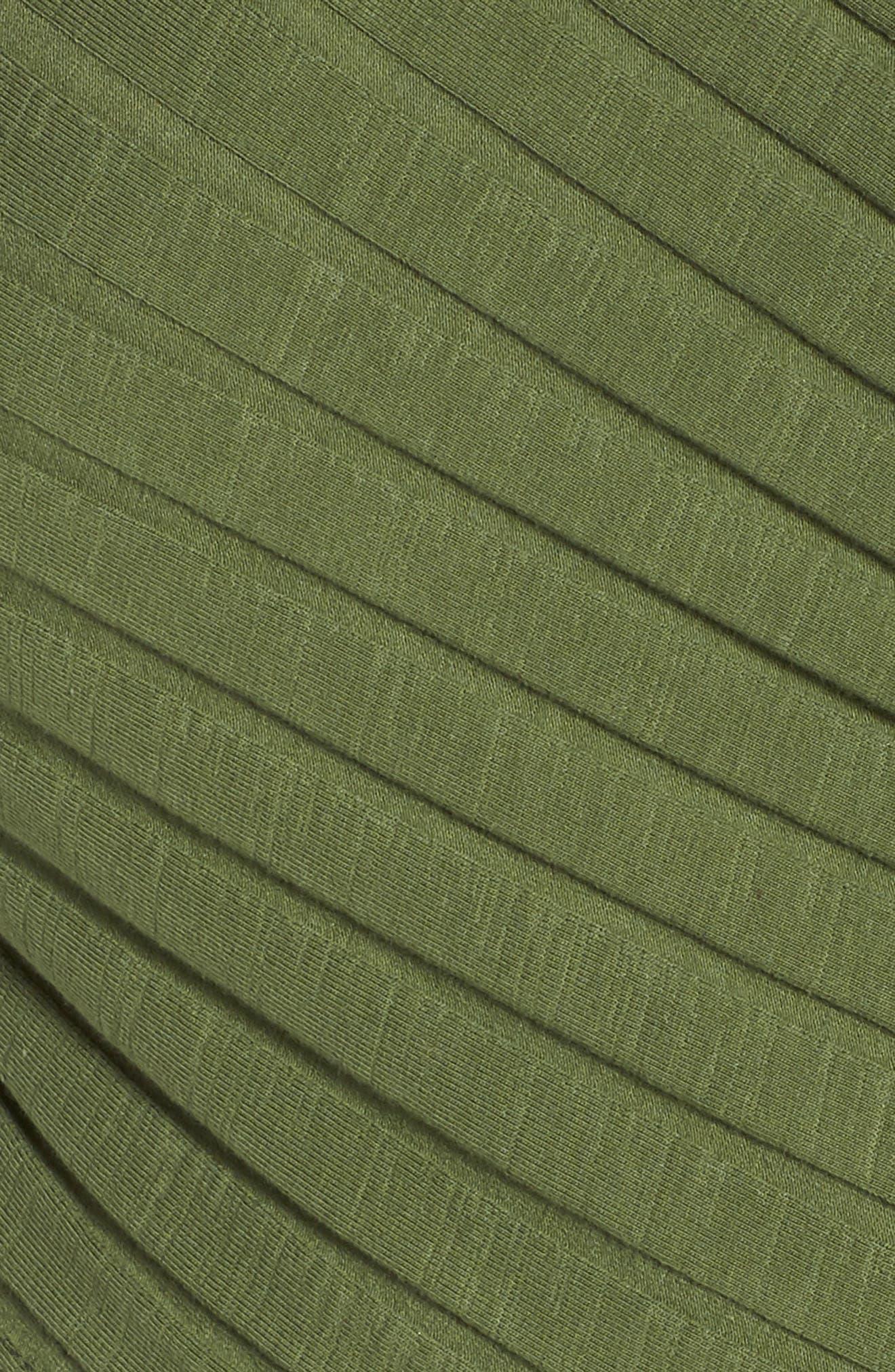 Rib Knit Wrap Top,                             Alternate thumbnail 5, color,                             OLIVE AMBER