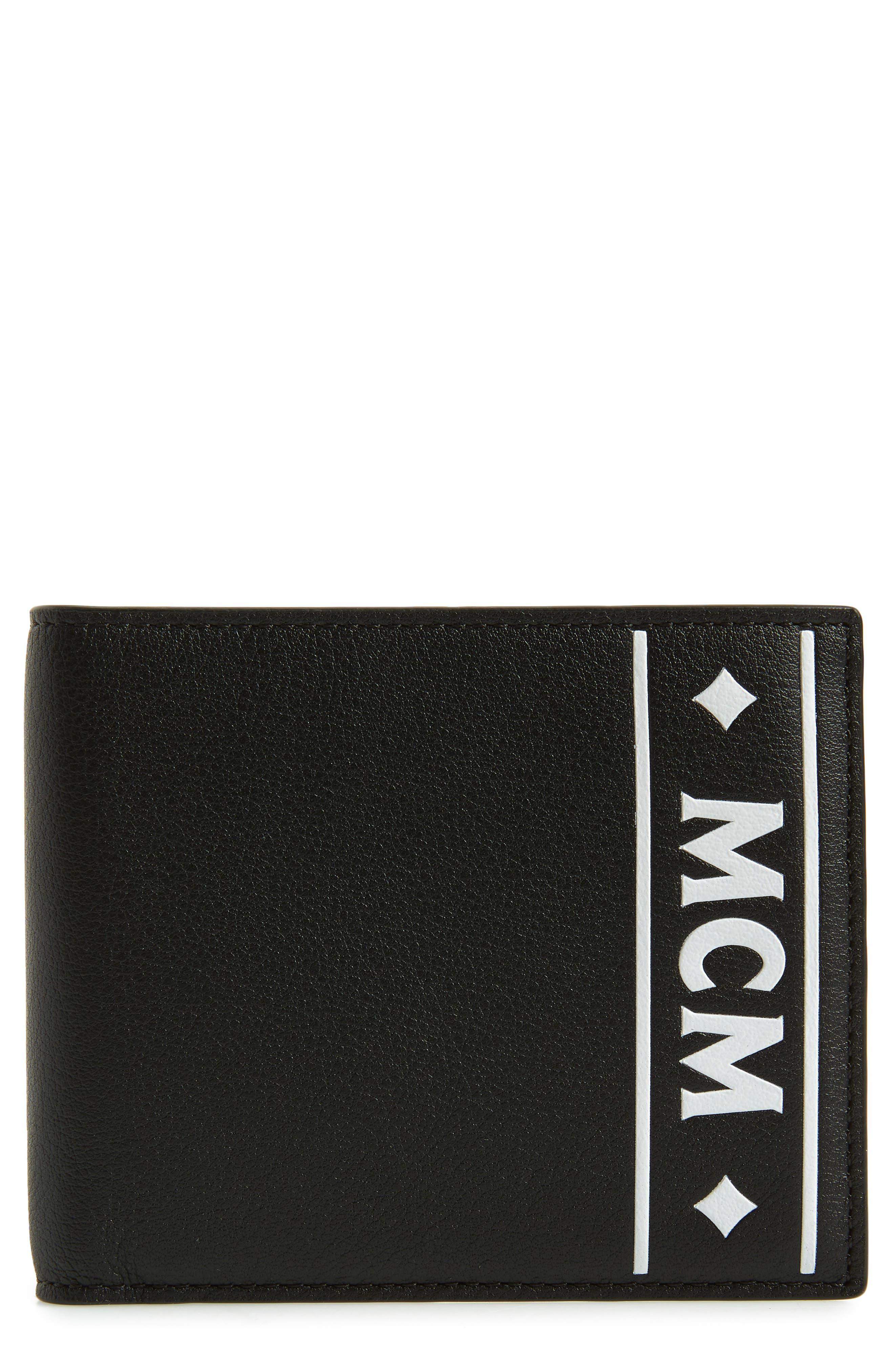 Coburg Logo Stripe Leather Wallet,                         Main,                         color, BLACK
