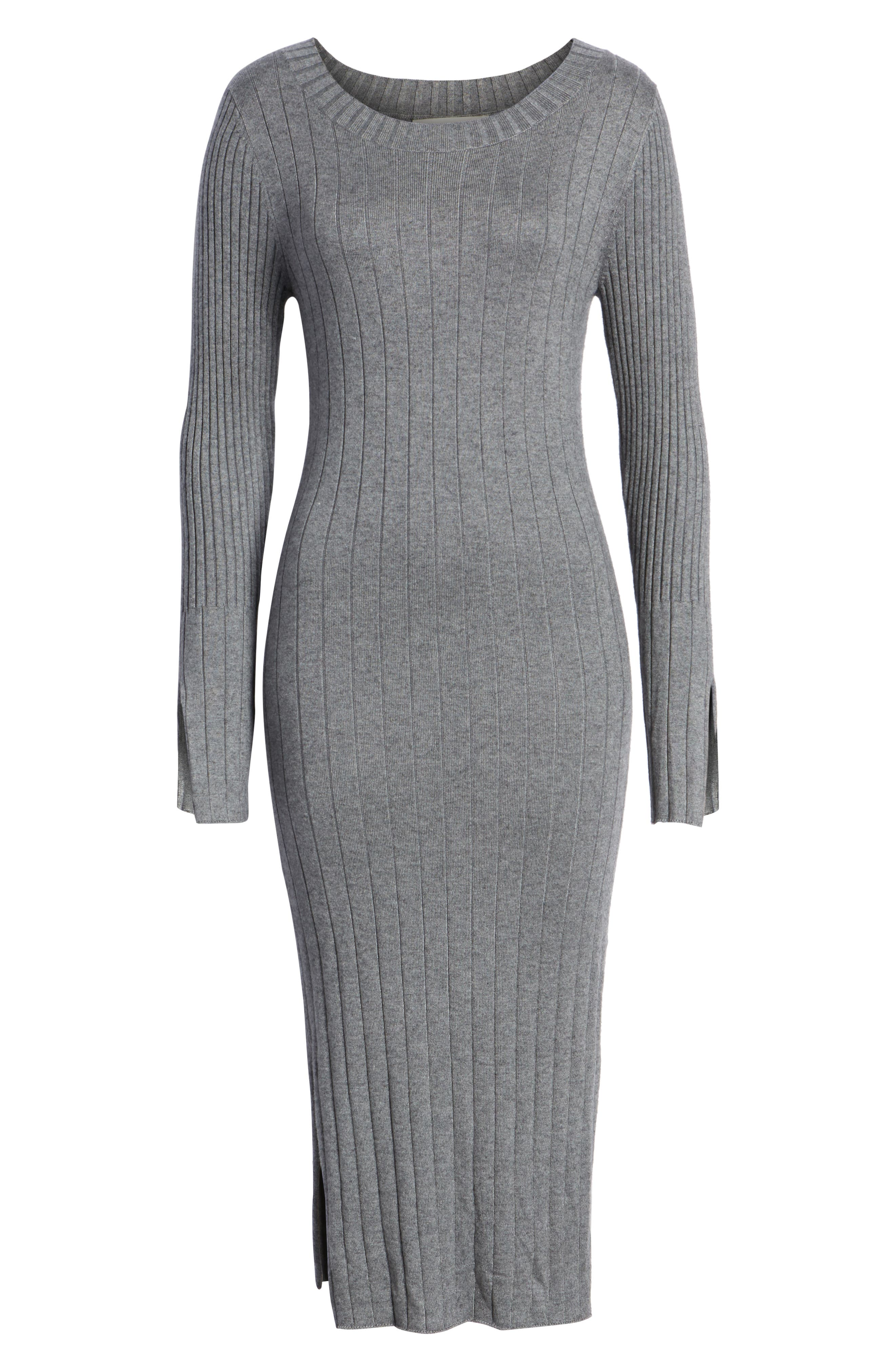 Ribbed Sweater Dress,                             Alternate thumbnail 6, color,                             GREY DARK HEATHER