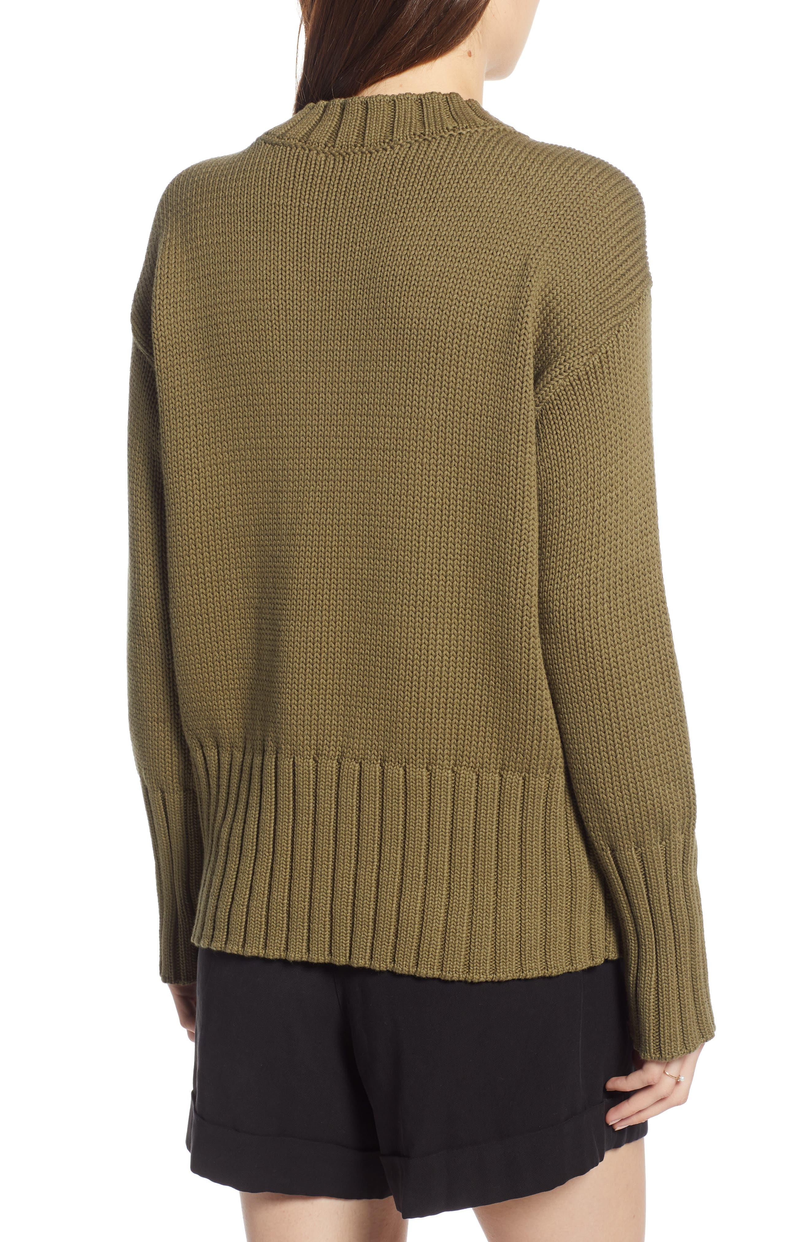 V-Neck Sweater,                             Alternate thumbnail 2, color,                             OLIVE BURNT
